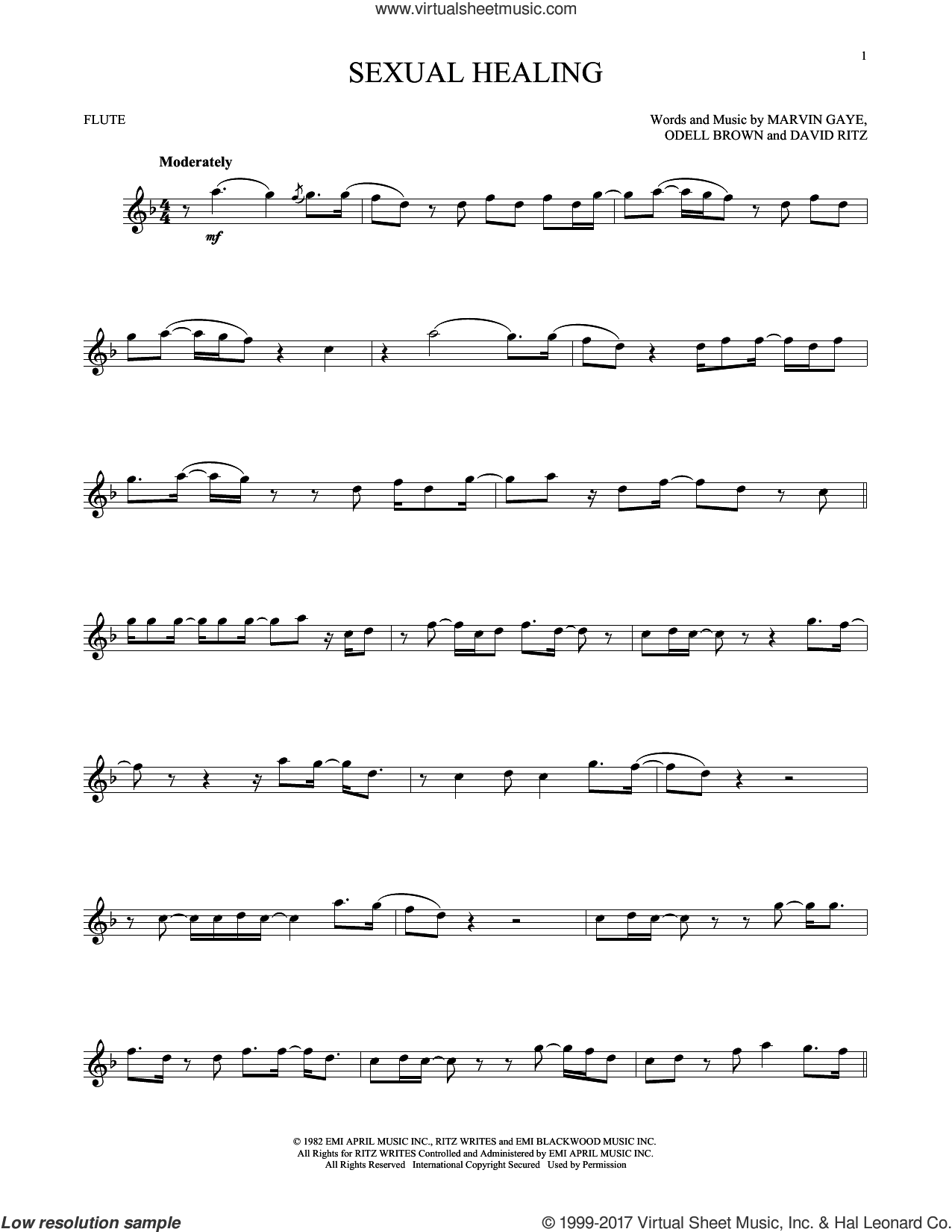 Sexual Healing sheet music for flute solo by Marvin Gaye, David Ritz and Odell Brown, intermediate skill level