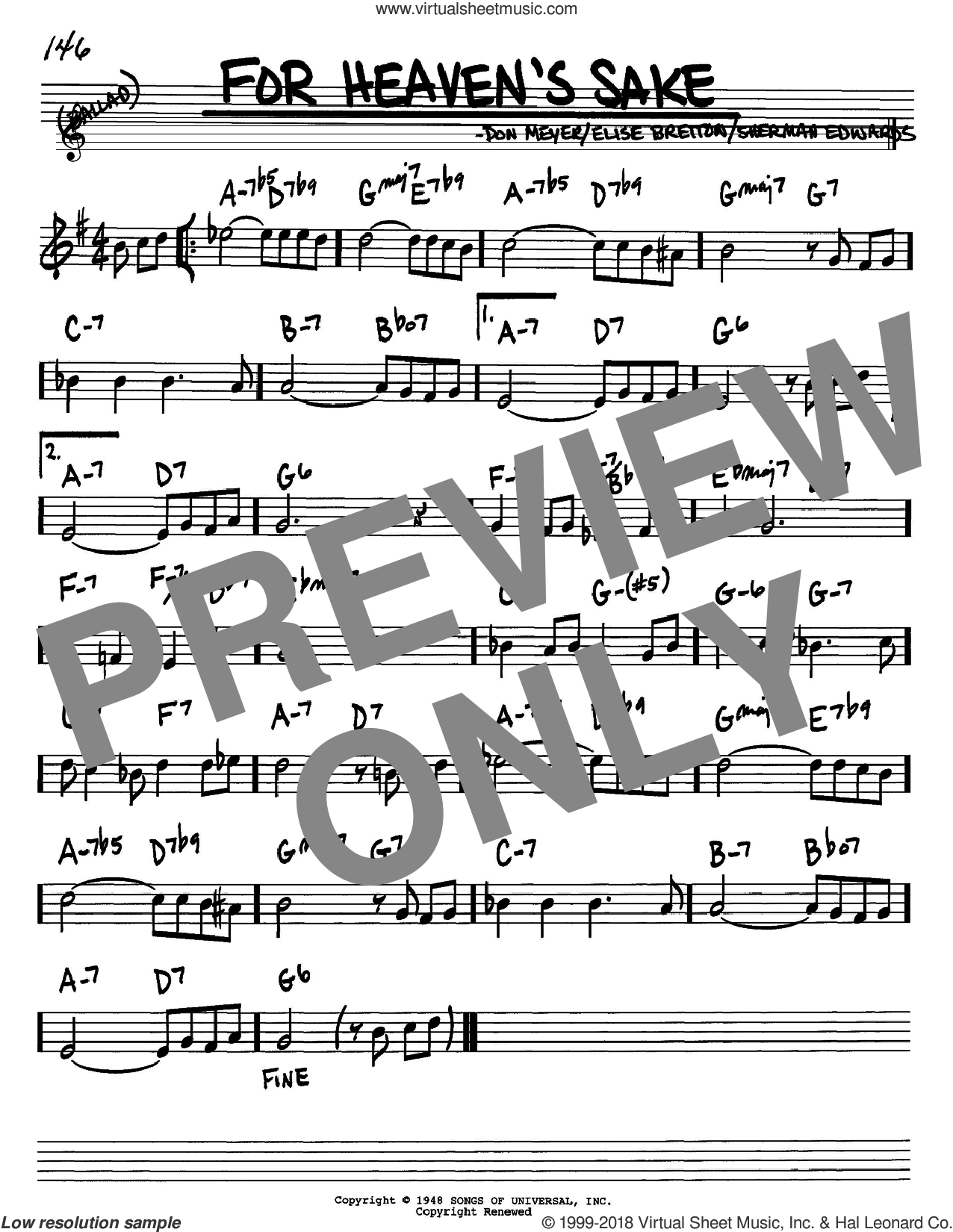 For Heaven's Sake sheet music for voice and other instruments (Bb) by Sherman Edwards