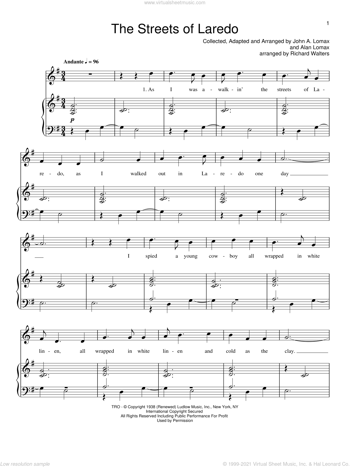 The Streets Of Laredo sheet music for voice, piano or guitar  and Johnny Cash, intermediate skill level