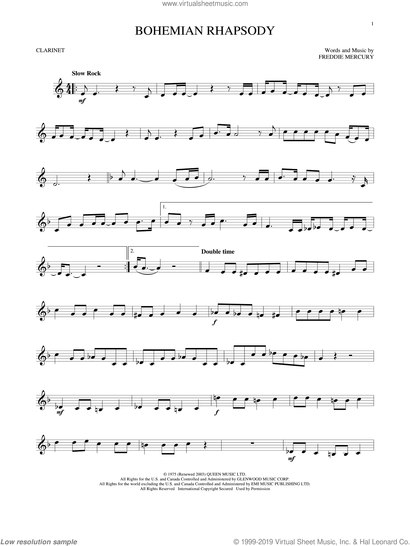 Bohemian Rhapsody sheet music for clarinet solo by Queen, intermediate skill level