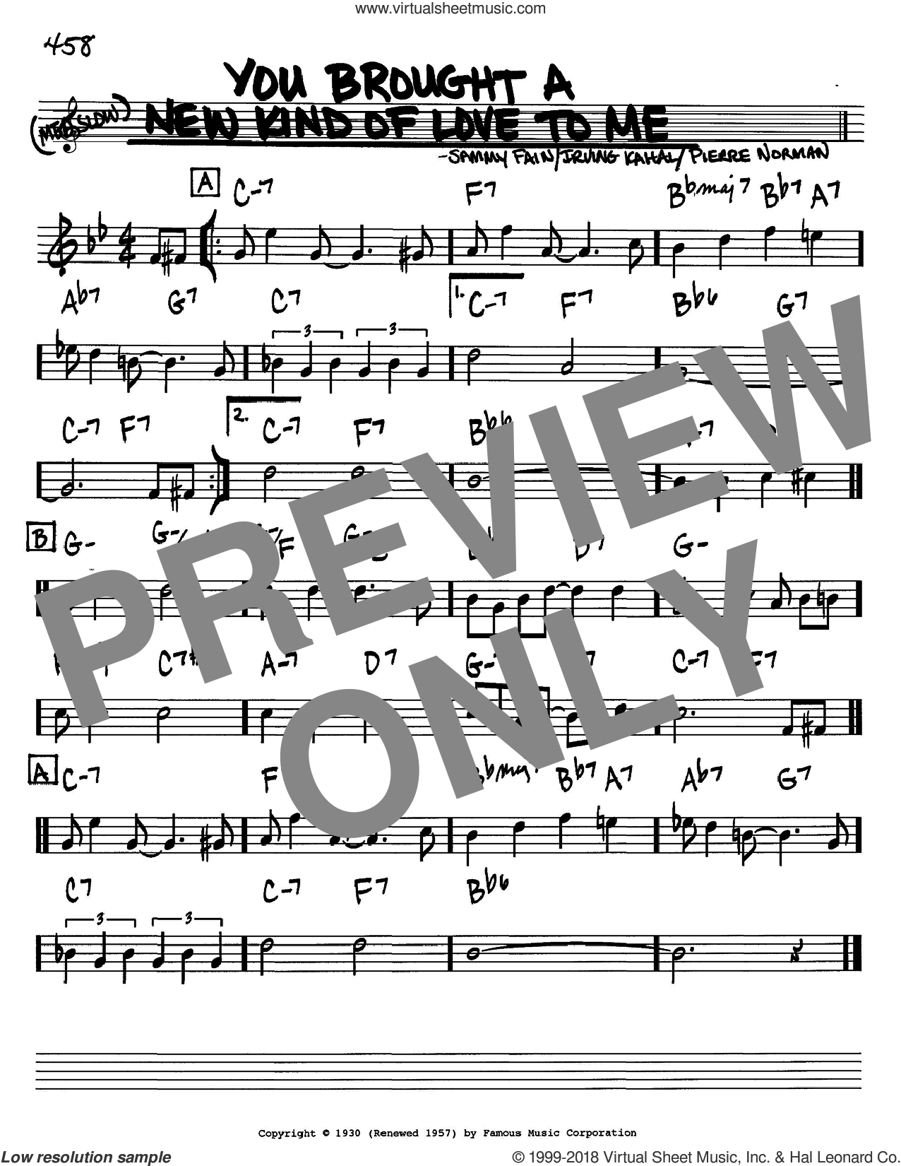 You Brought A New Kind Of Love To Me sheet music for voice and other instruments (in Bb) by Frank Sinatra, Irving Kahal, Pierre Norman and Sammy Fain, intermediate skill level