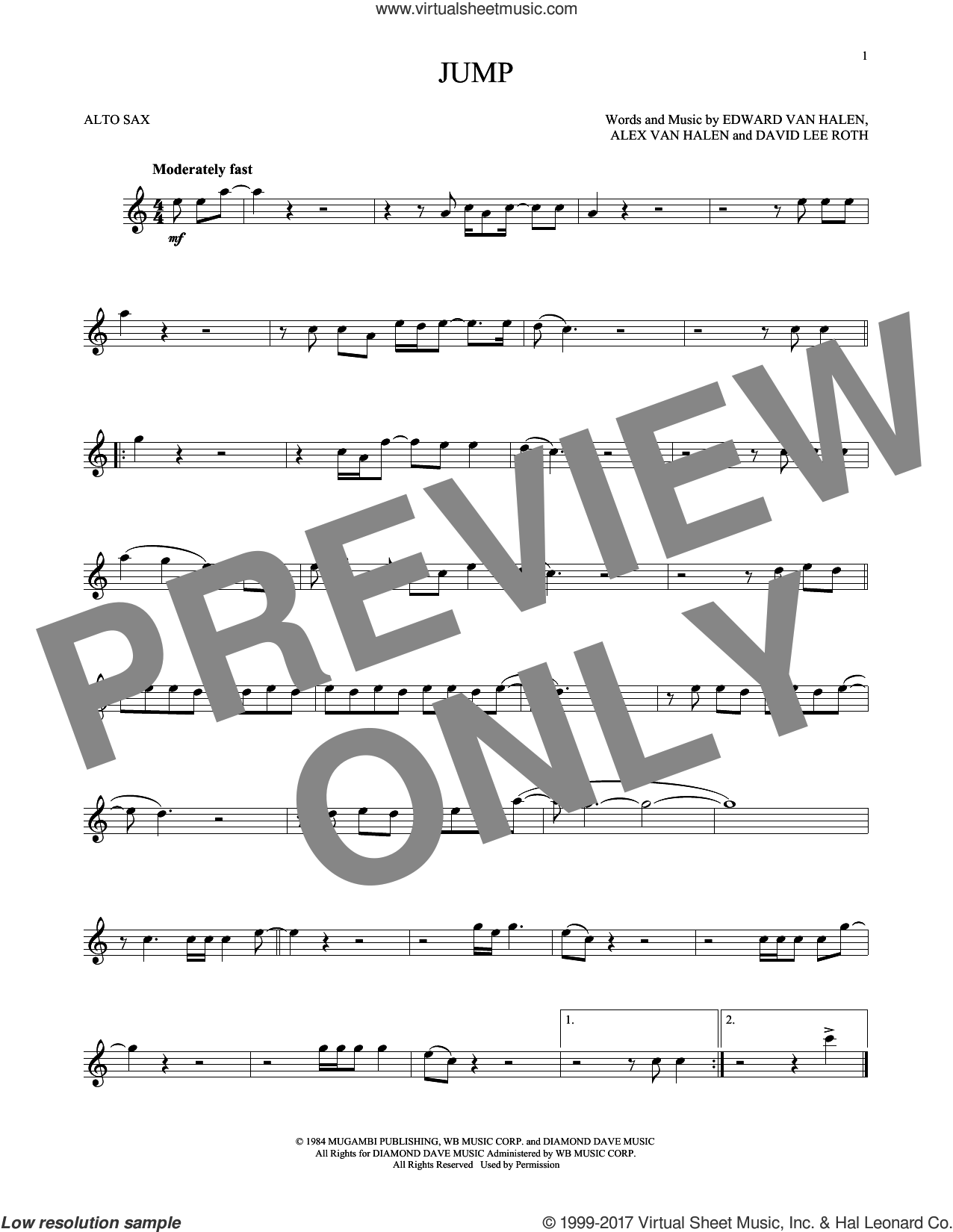 Jump sheet music for alto saxophone solo by Edward Van Halen, Alex Van Halen and David Lee Roth, intermediate skill level