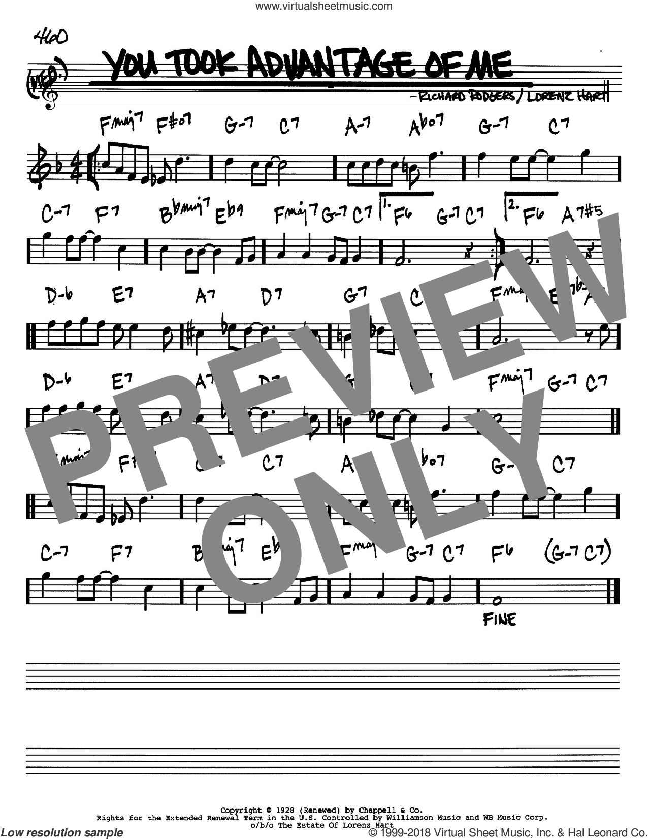You Took Advantage Of Me sheet music for voice and other instruments (in Bb) by Rodgers & Hart, Lorenz Hart and Richard Rodgers, intermediate. Score Image Preview.