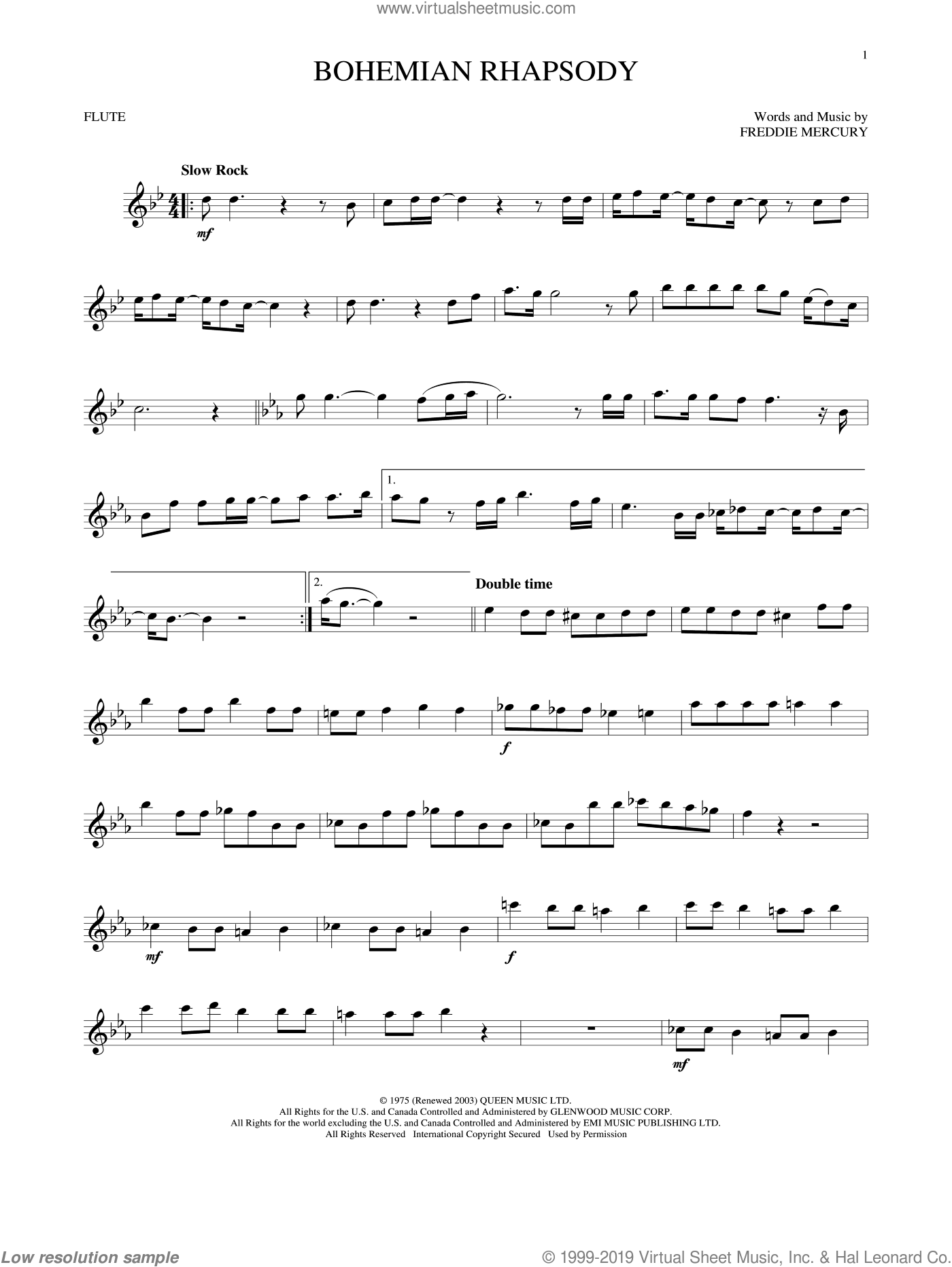Bohemian Rhapsody sheet music for flute solo by Queen, intermediate skill level