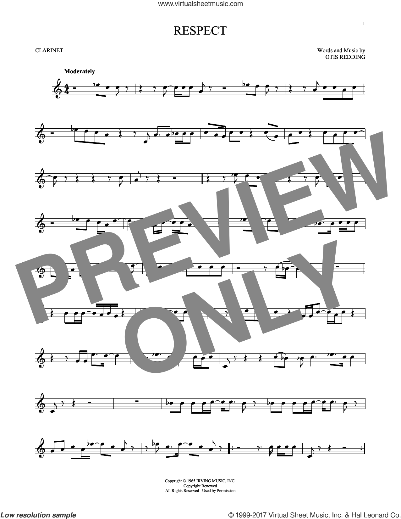 Respect sheet music for clarinet solo by Aretha Franklin and Otis Redding, intermediate skill level