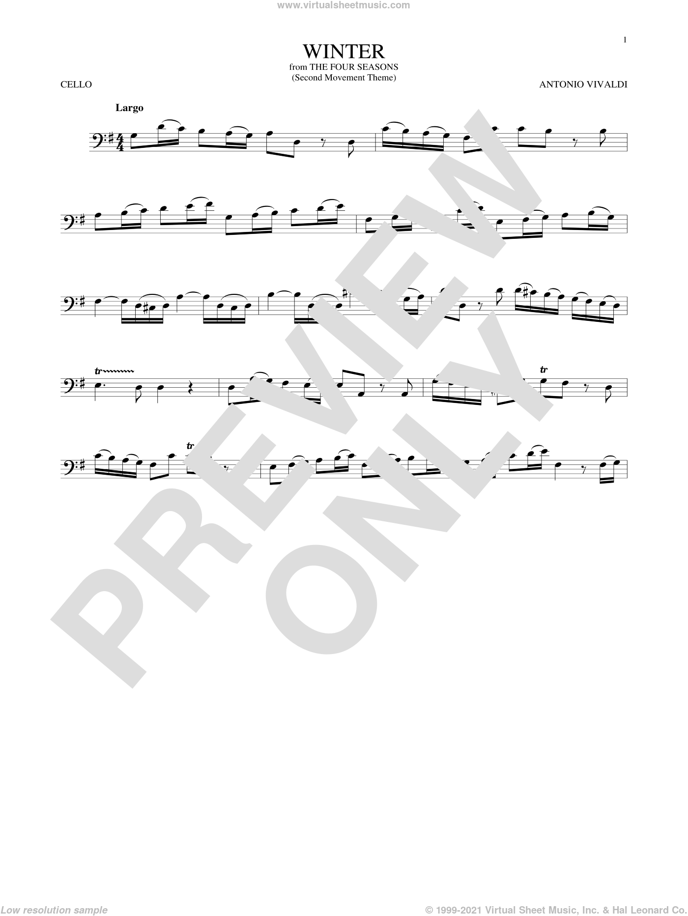 Winter sheet music for cello solo by Antonio Vivaldi, classical score, intermediate skill level