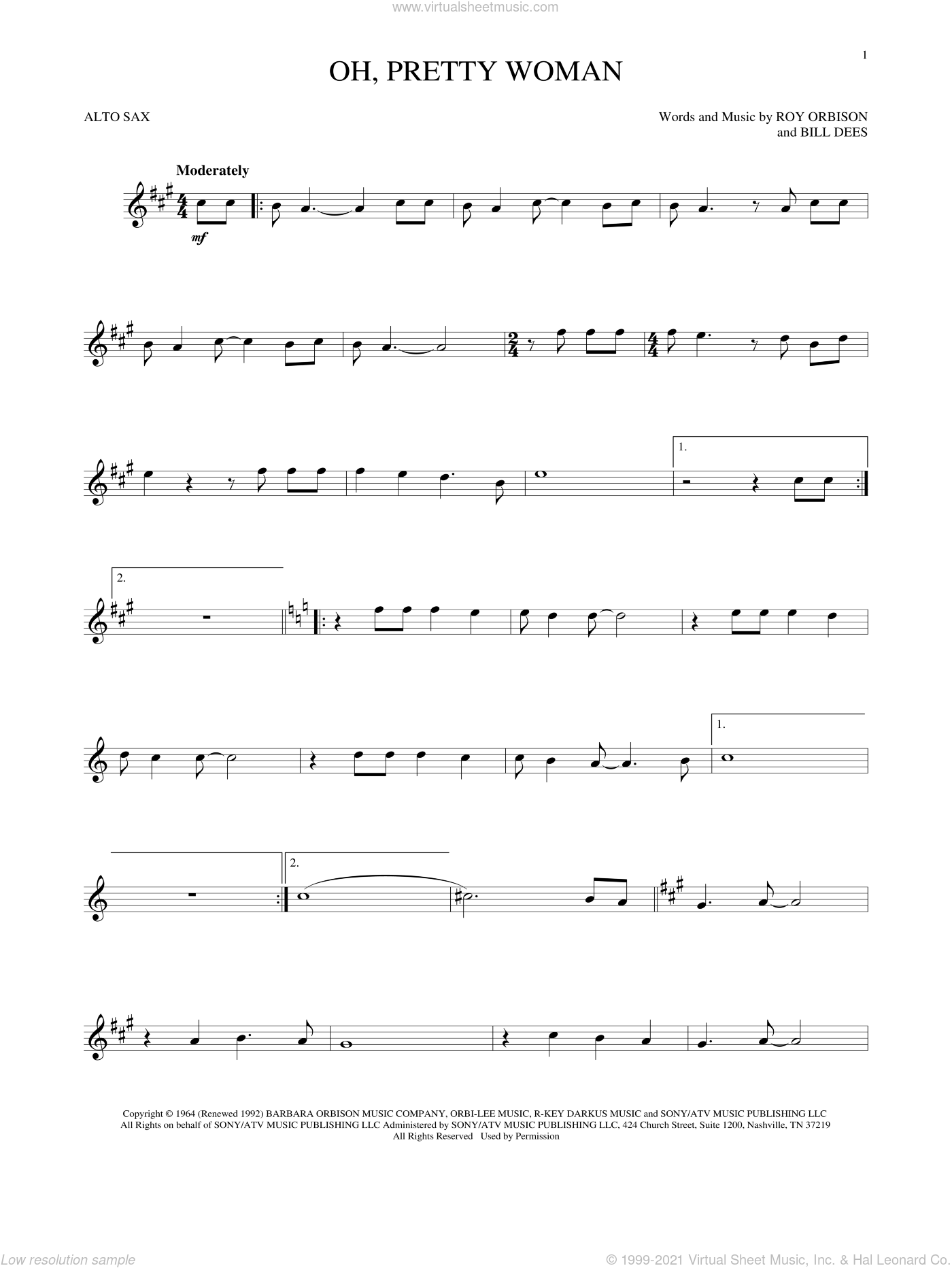 Oh, Pretty Woman sheet music for alto saxophone solo by Roy Orbison and Bill Dees, intermediate skill level