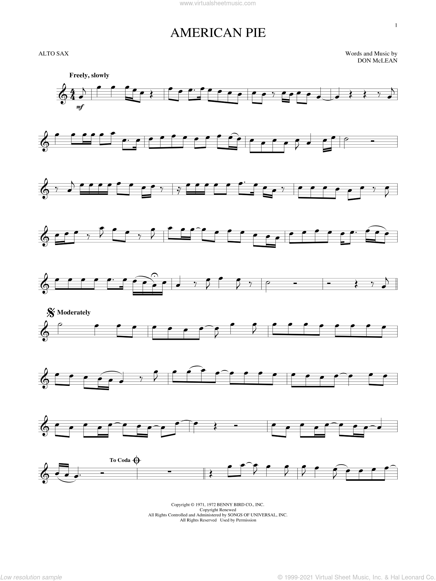 American Pie sheet music for alto saxophone solo by Don McLean, intermediate skill level
