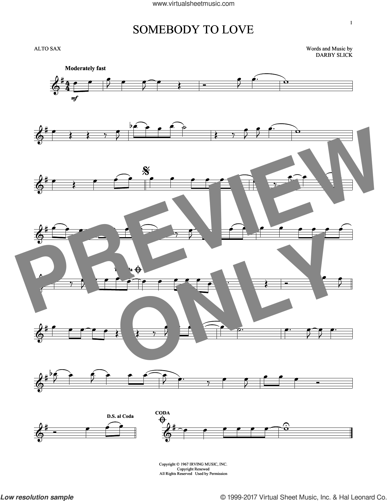 Somebody To Love sheet music for alto saxophone solo by Jefferson Airplane and Darby Slick, intermediate skill level