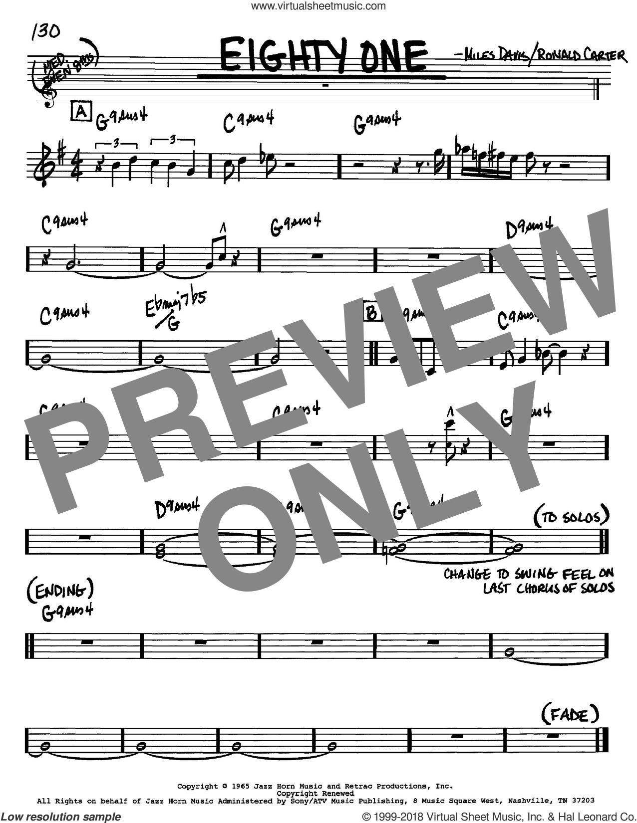 Eighty One sheet music for voice and other instruments (Bb) by Ronald Carter and Miles Davis. Score Image Preview.
