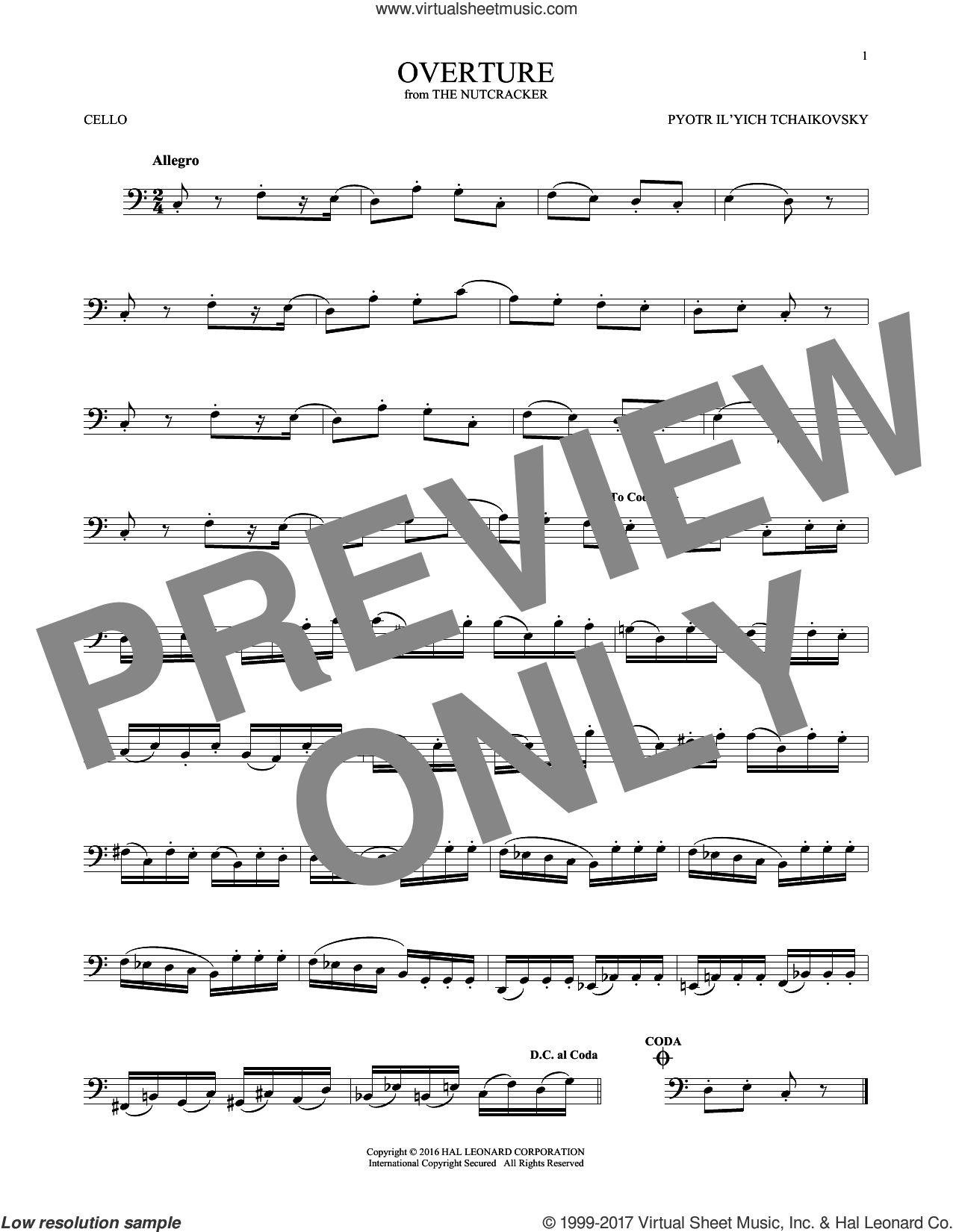 Overture sheet music for cello solo by Pyotr Ilyich Tchaikovsky, classical score, intermediate skill level