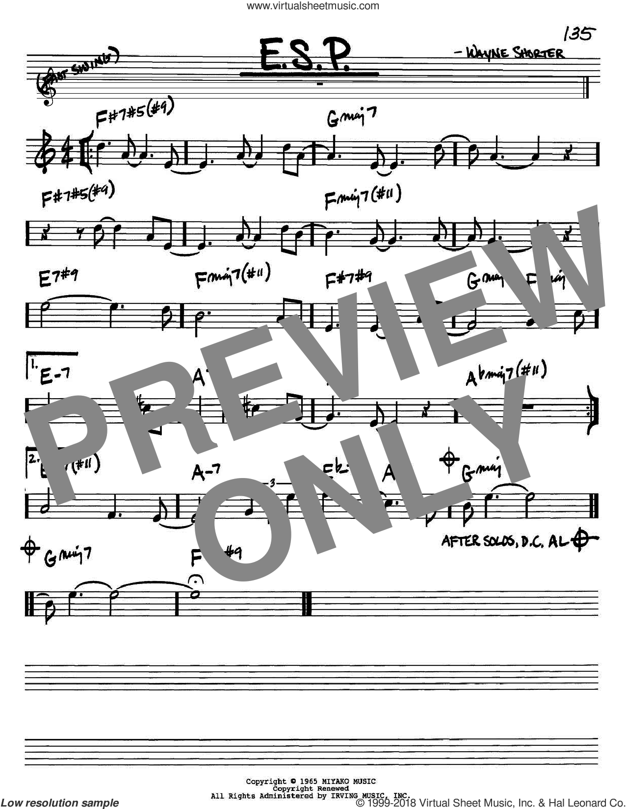 E.S.P. sheet music for voice and other instruments (Bb) by Wayne Shorter, intermediate voice. Score Image Preview.