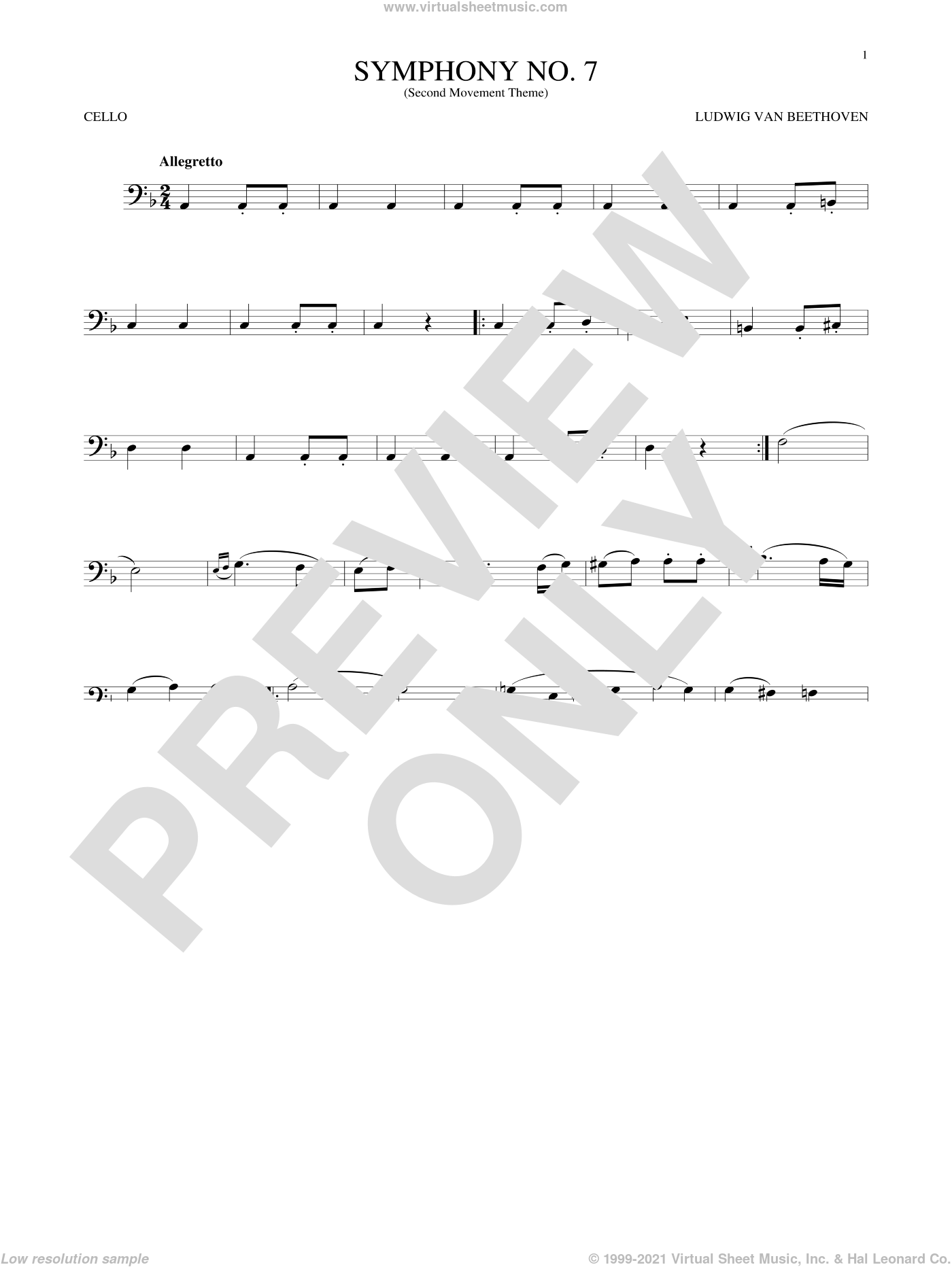 Symphony No. 7 In A Major, Second Movement (Allegretto) sheet music for cello solo by Ludwig van Beethoven, classical score, intermediate skill level