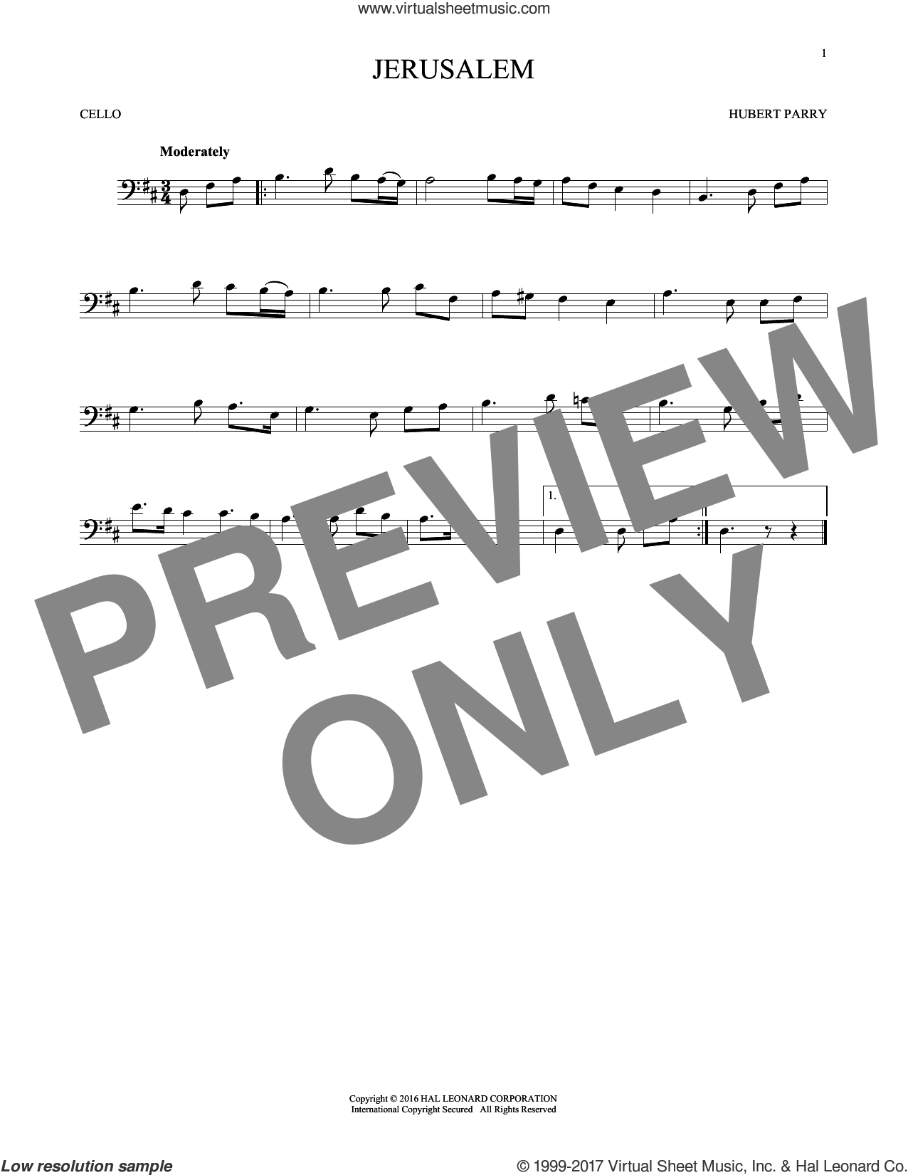 Jerusalem sheet music for cello solo by C.H. Parry, intermediate skill level