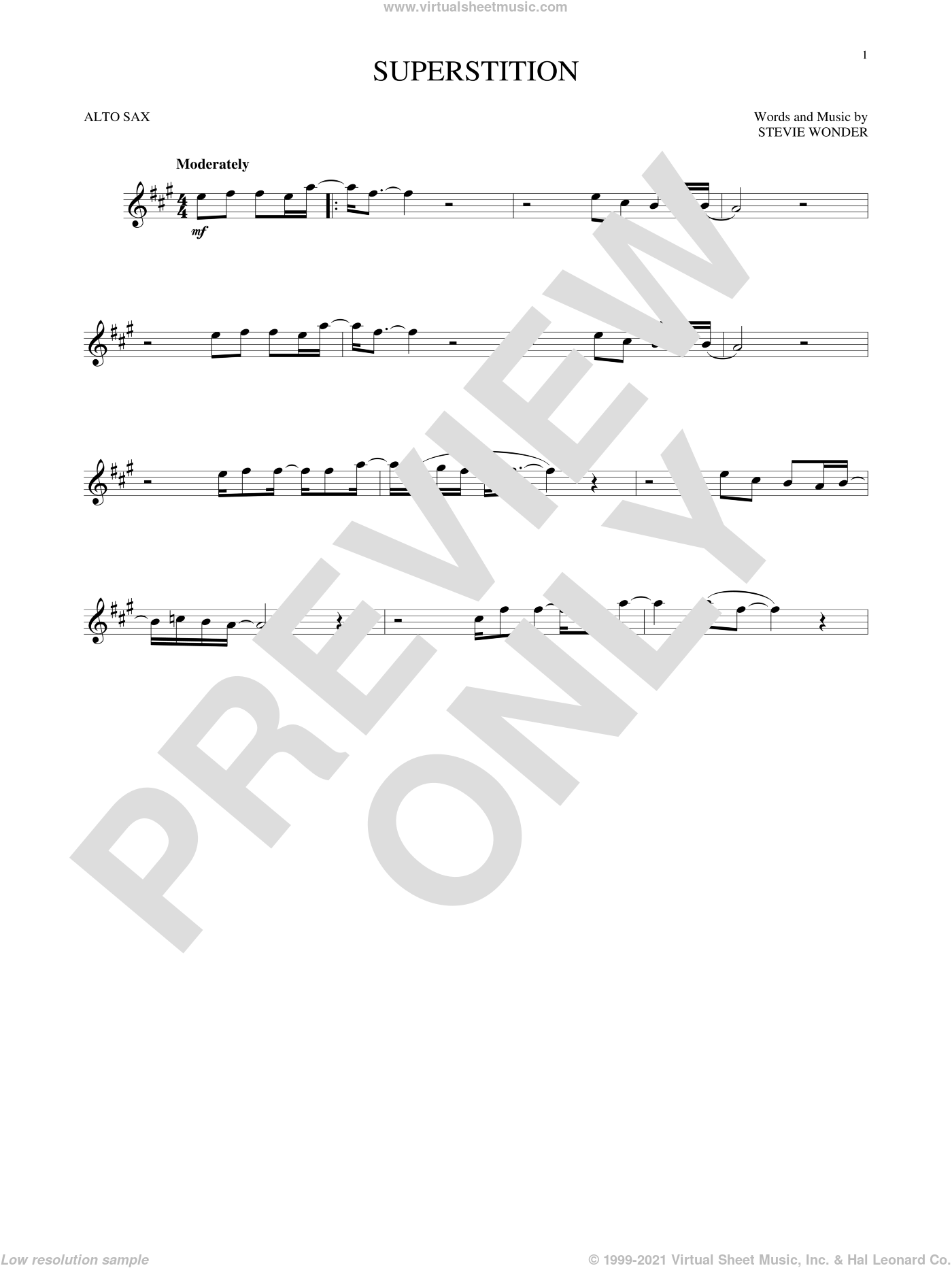 Superstition sheet music for alto saxophone solo by Stevie Wonder, intermediate skill level