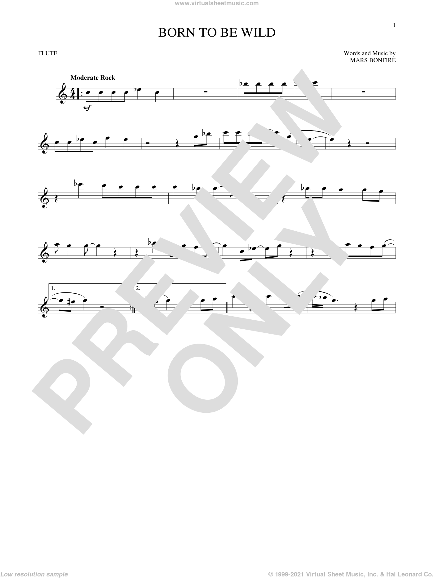 Born To Be Wild sheet music for flute solo by Steppenwolf and Mars Bonfire, intermediate skill level