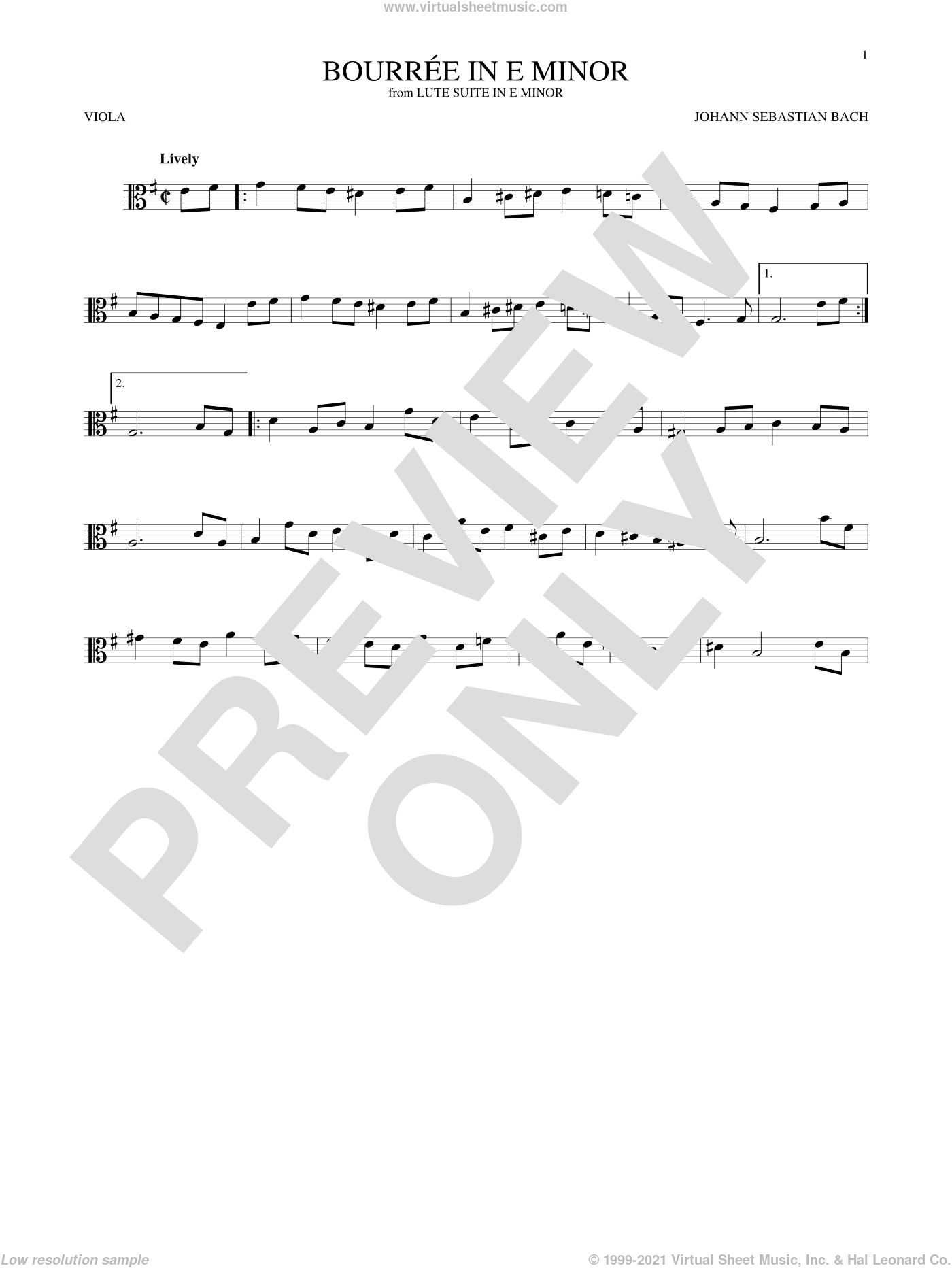 Bourree In E Minor sheet music for viola solo by Johann Sebastian Bach, classical score, intermediate skill level