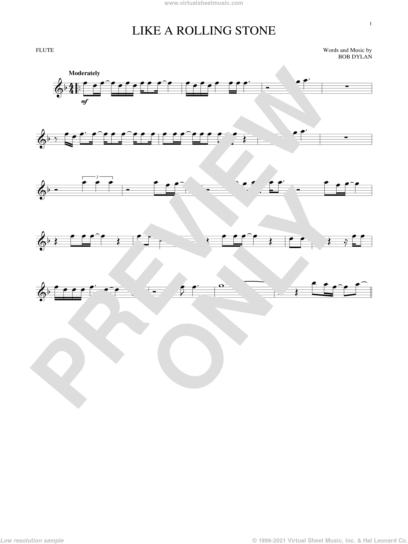 Like A Rolling Stone sheet music for flute solo by Bob Dylan, intermediate skill level