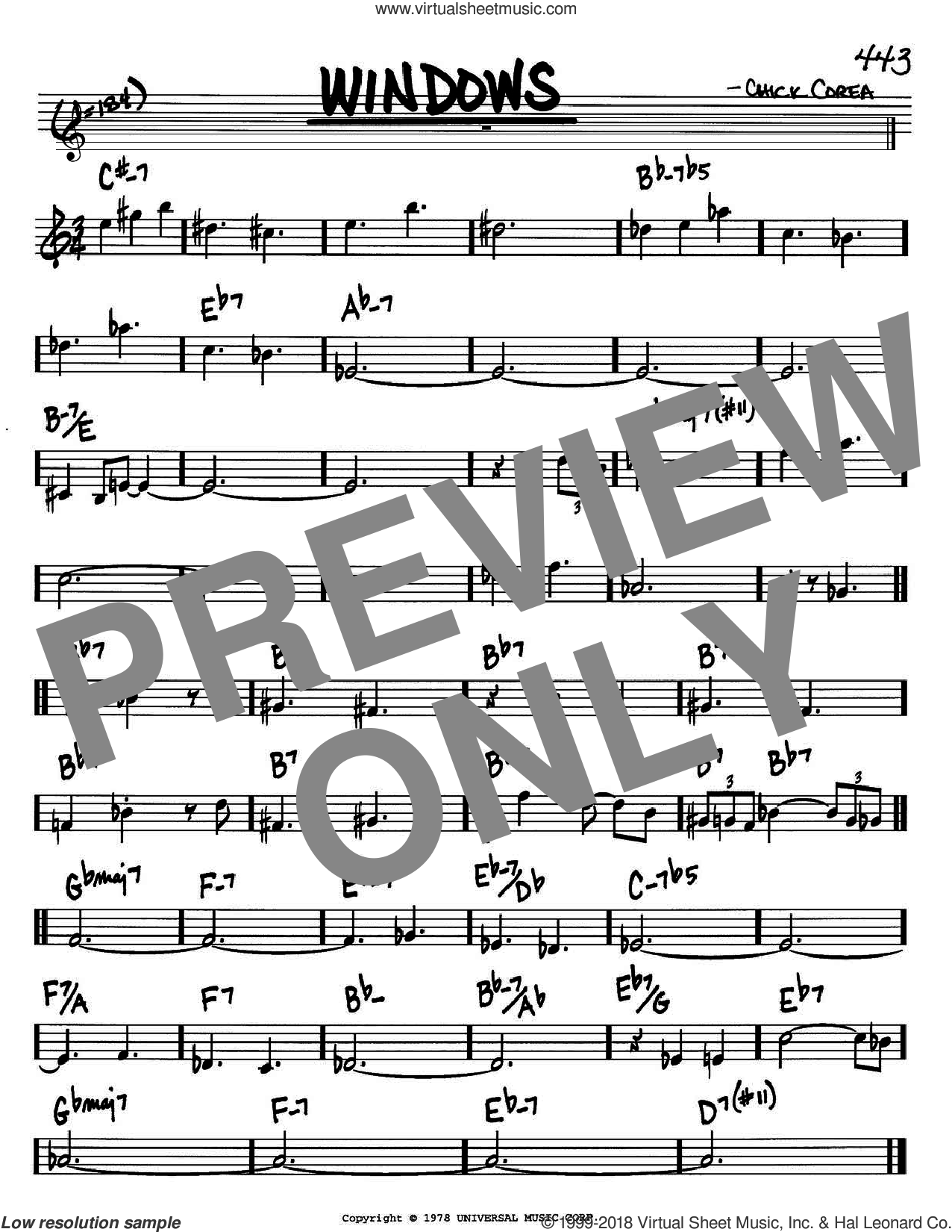 Windows sheet music for voice and other instruments (in Bb) by Chick Corea, intermediate skill level