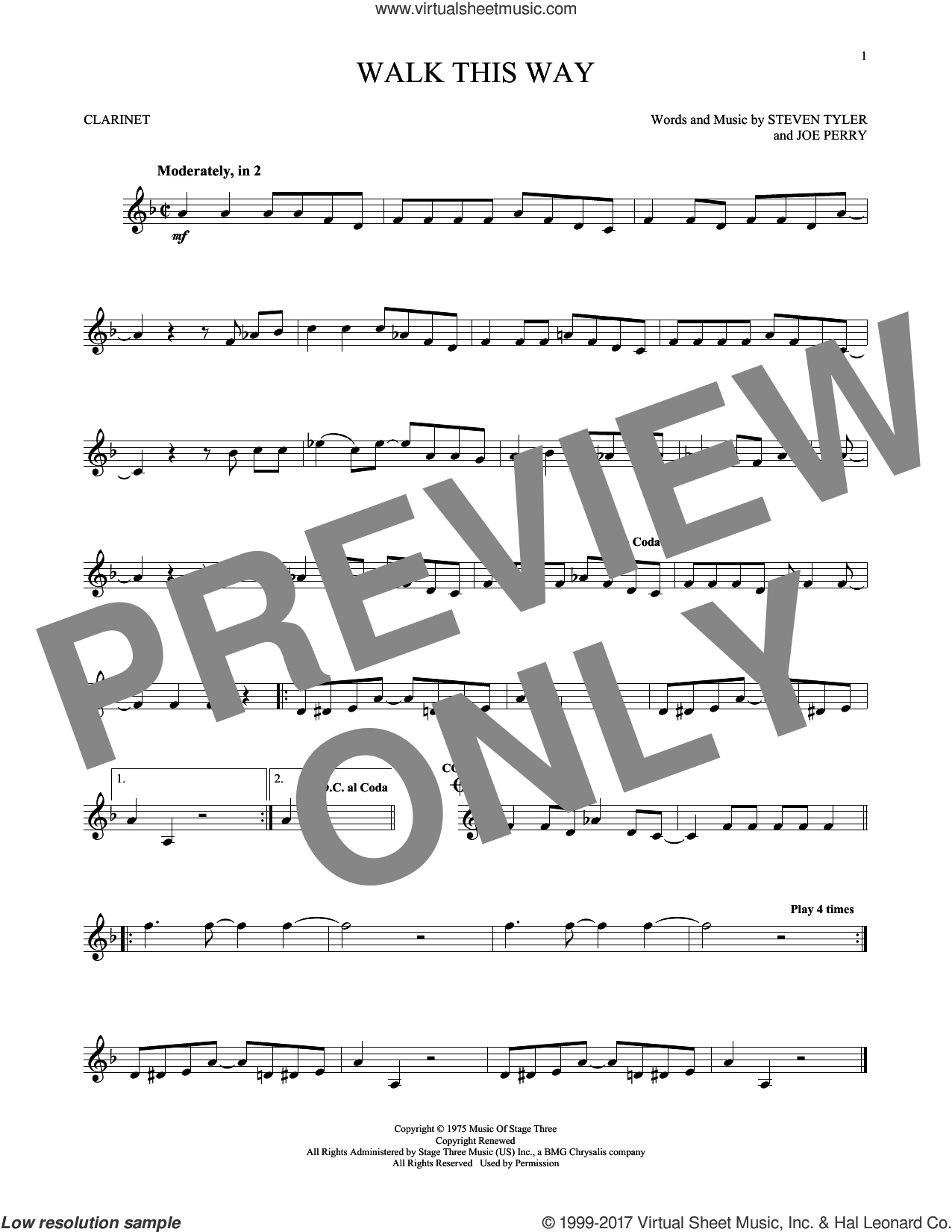 Walk This Way sheet music for clarinet solo by Aerosmith, Run D.M.C., Joe Perry and Steven Tyler, intermediate