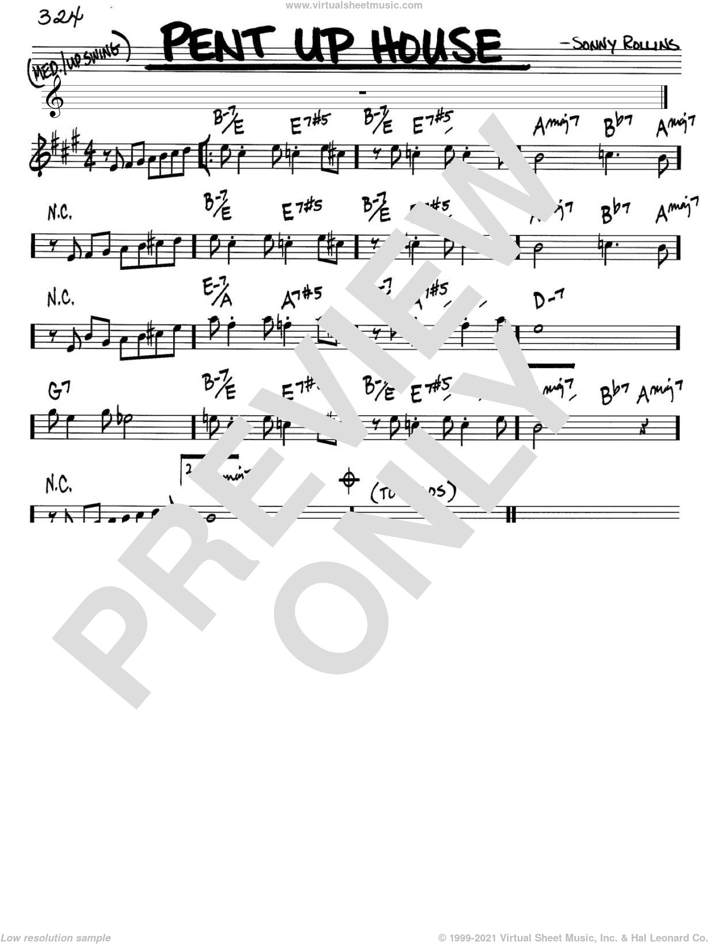 Pent Up House sheet music for voice and other instruments (in Bb) by Sonny Rollins, intermediate skill level