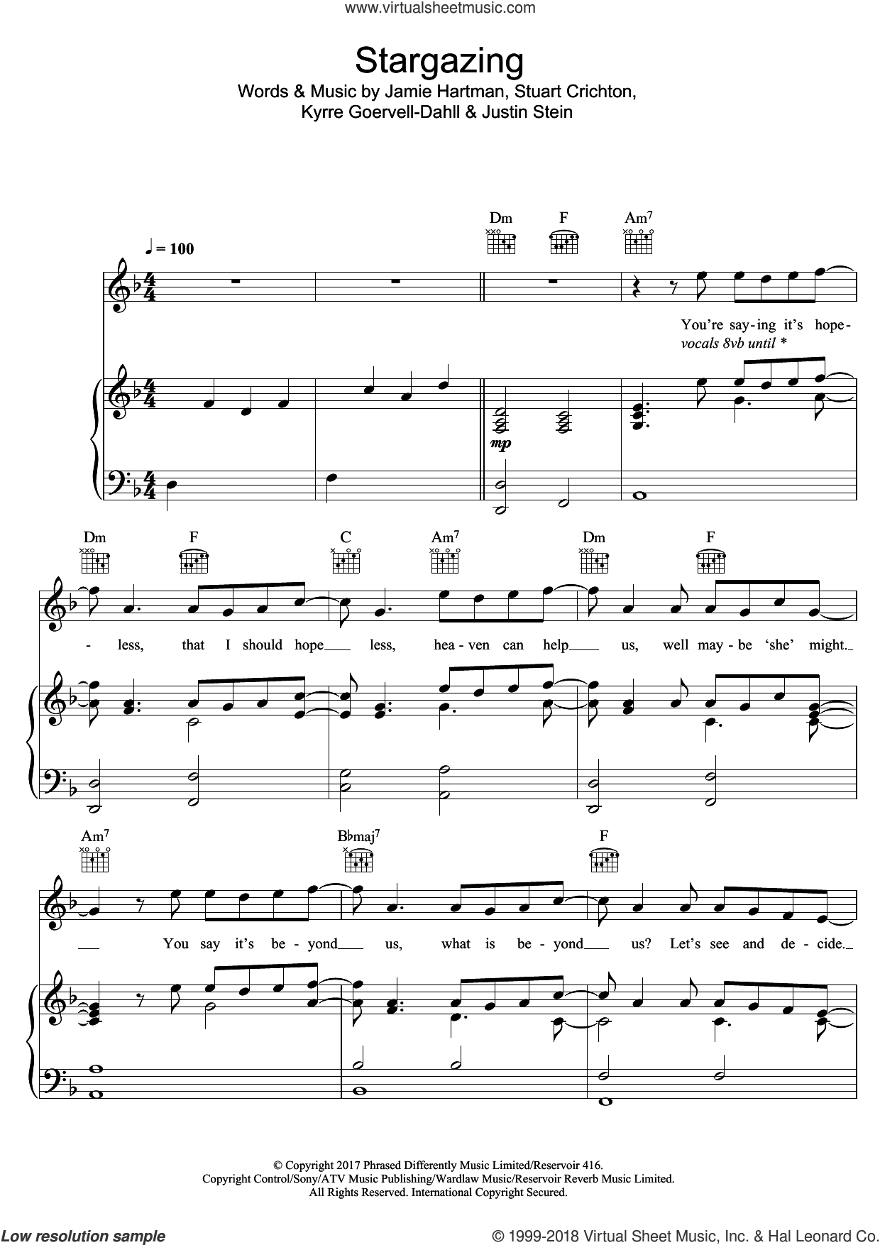 Stargazing (featuring Justin Jesso) sheet music for voice, piano or guitar by Kygo, Justin Jesso, Jamie Hartman, Justin Stein, Kyrre Goervell-Dahll and Stuart Crichton, intermediate skill level