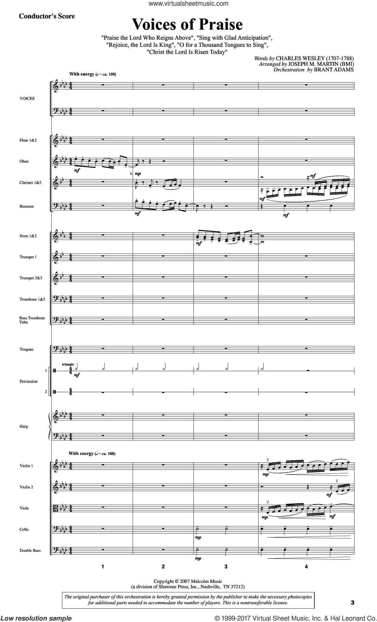 Testament of Praise (A Celebration of Faith) (COMPLETE) sheet music for orchestra/band by Joseph M. Martin, Brant Adams, Charles Wesley and Gaelic Tune, intermediate skill level