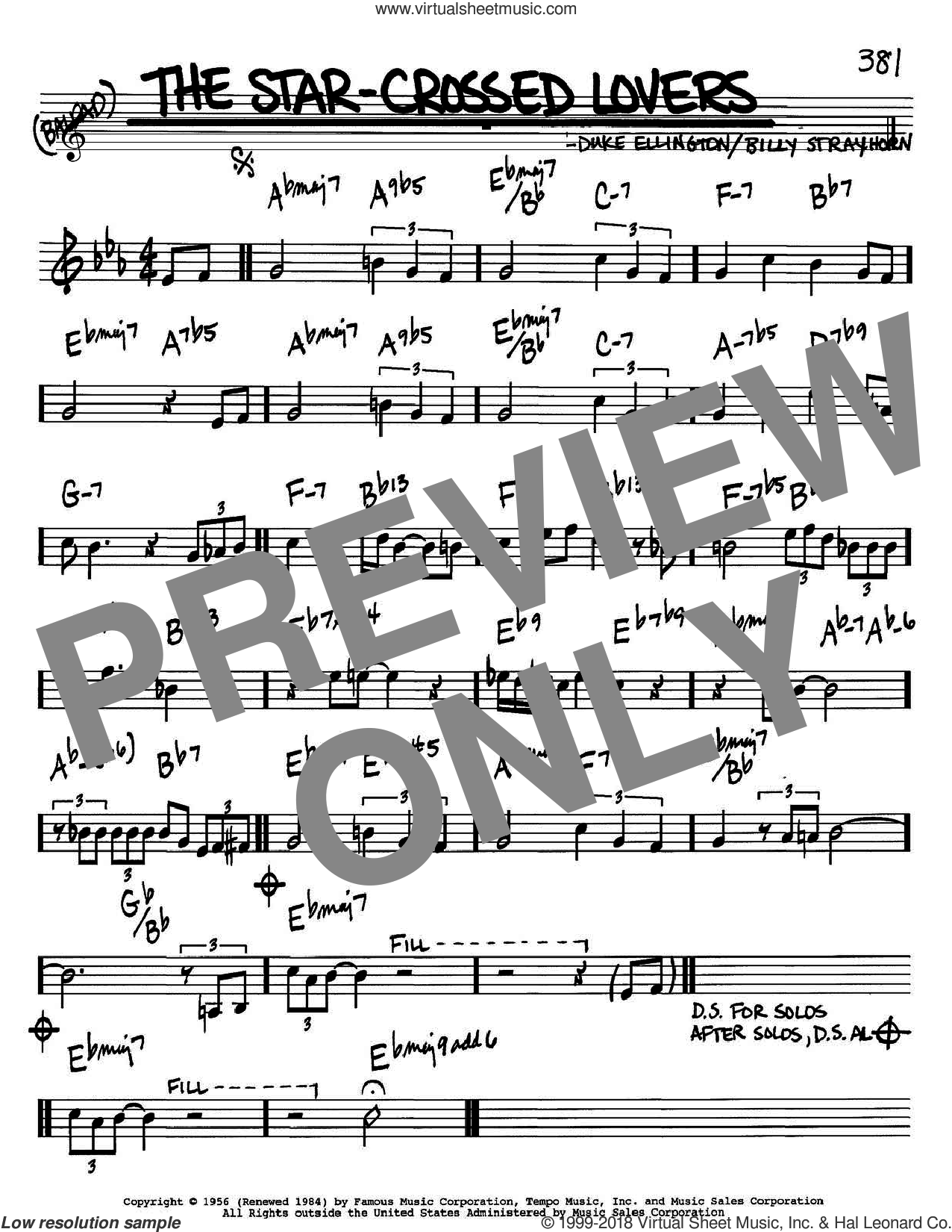 The Star-Crossed Lovers sheet music for voice and other instruments (Bb) by Duke Ellington and Billy Strayhorn. Score Image Preview.