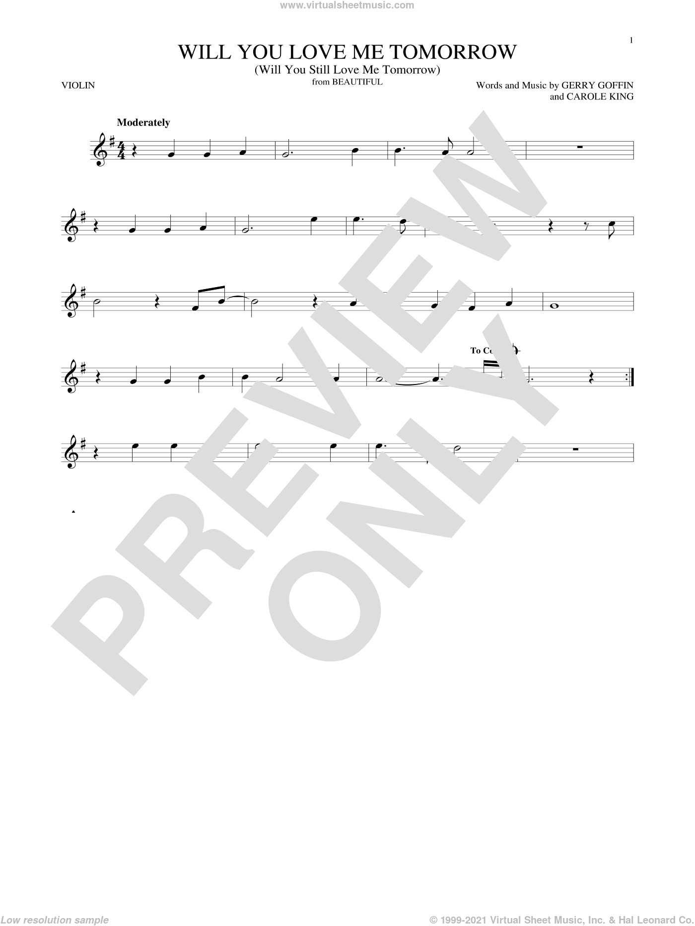 Will You Love Me Tomorrow (Will You Still Love Me Tomorrow) sheet music for violin solo by The Shirelles, Carole King and Gerry Goffin, intermediate skill level
