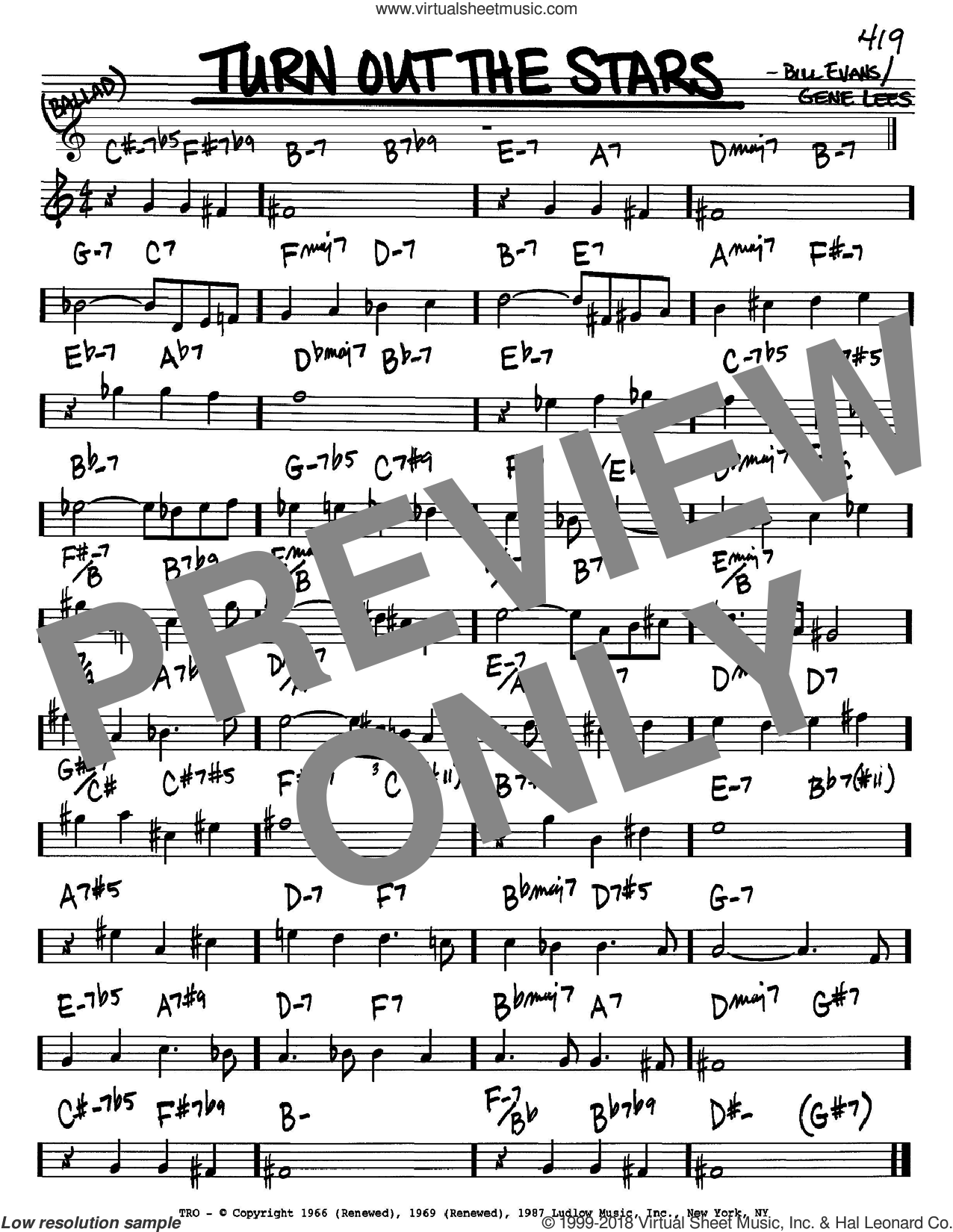 Turn Out The Stars sheet music for voice and other instruments (Bb) by Bill Evans. Score Image Preview.