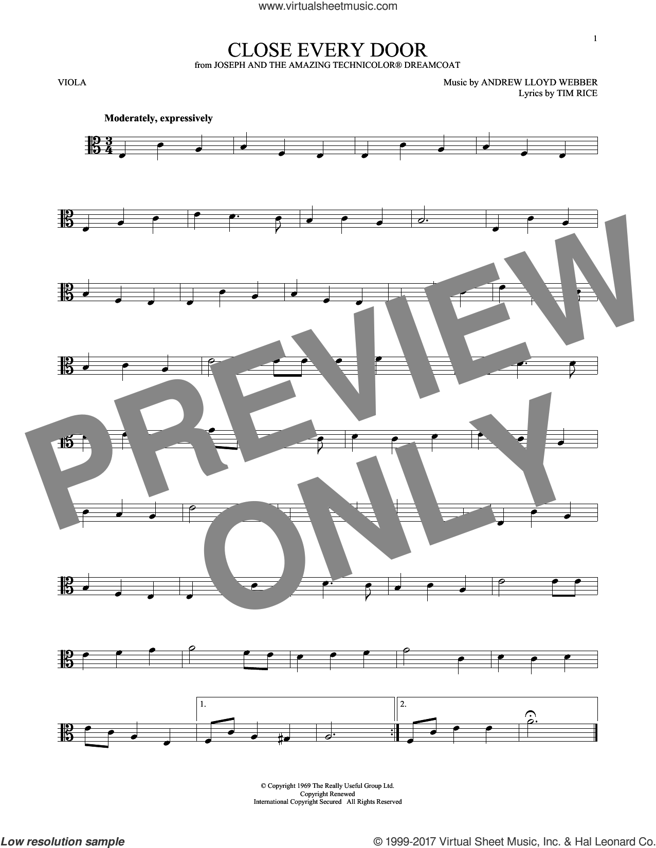 Close Every Door sheet music for viola solo by Andrew Lloyd Webber and Tim Rice, intermediate skill level