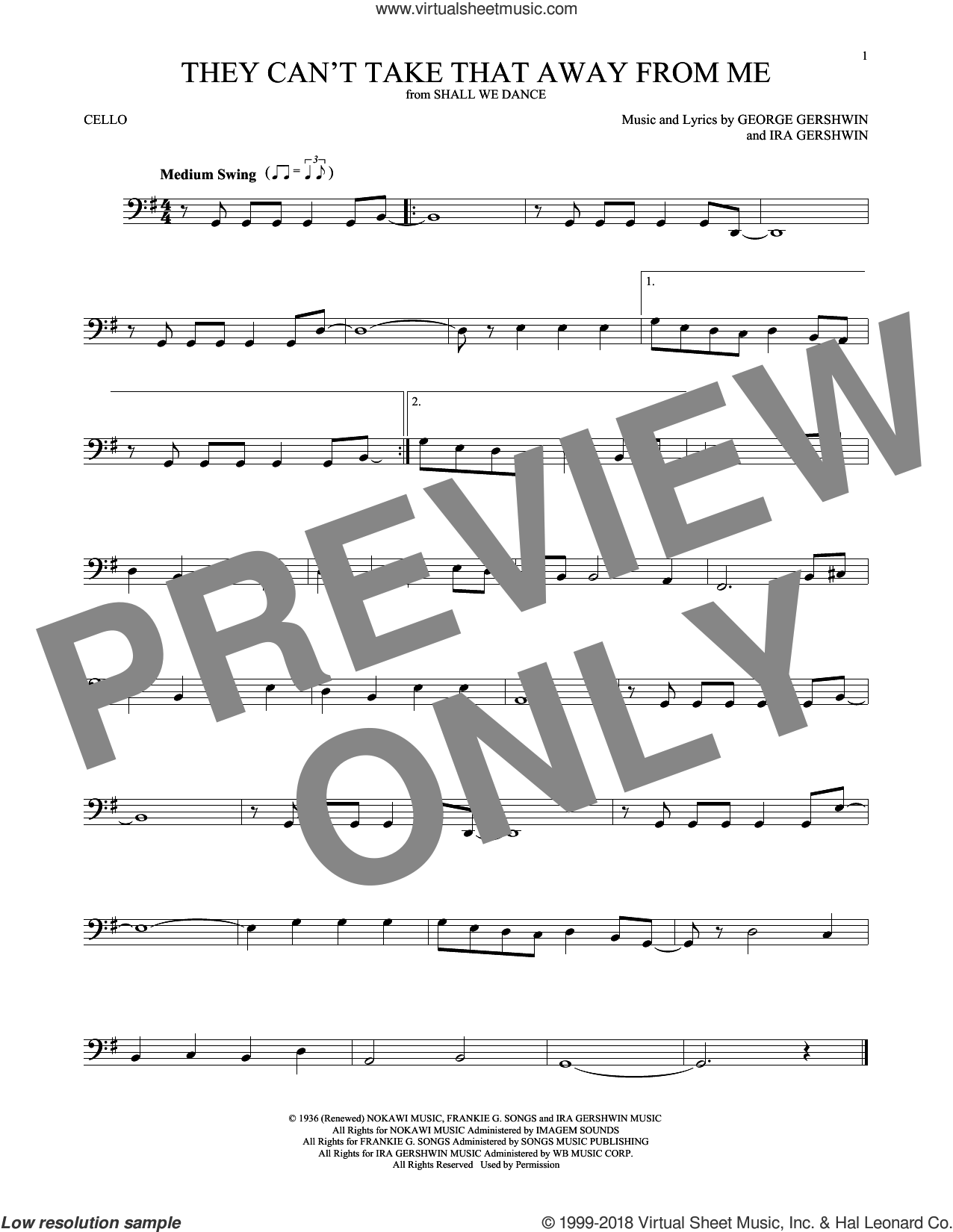 They Can't Take That Away From Me sheet music for cello solo by Frank Sinatra, George Gershwin and Ira Gershwin, intermediate skill level