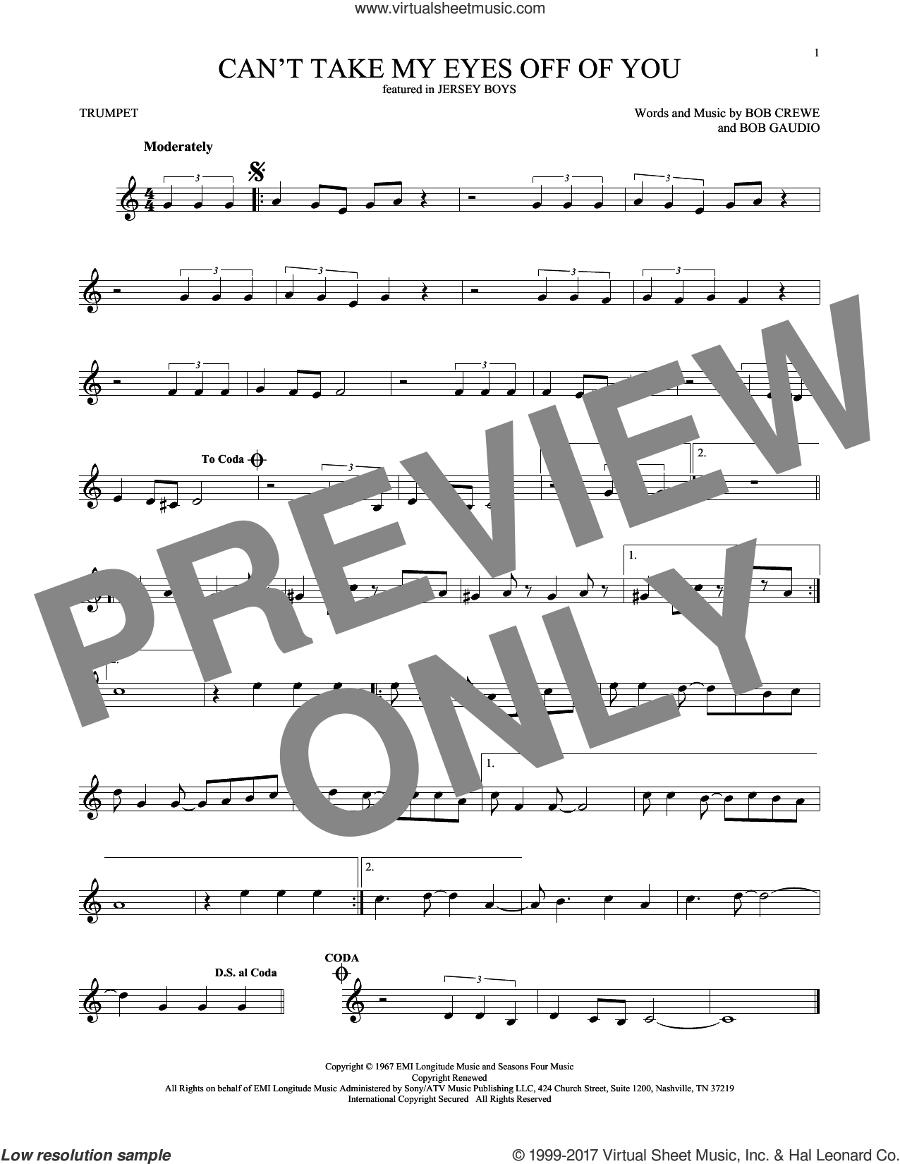 Can't Take My Eyes Off Of You sheet music for trumpet solo by The Four Seasons, Frankie Valli, Bob Crewe and Bob Gaudio, intermediate skill level