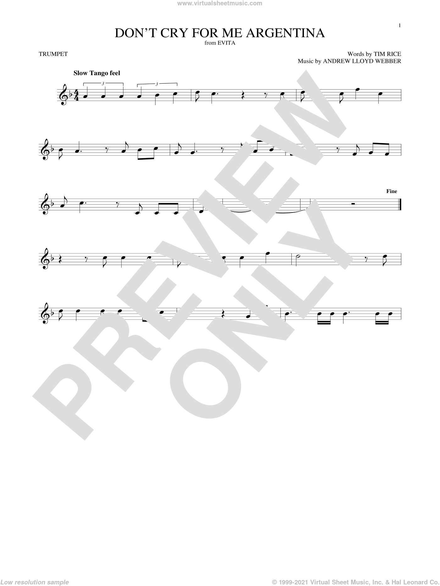 Don't Cry For Me Argentina sheet music for trumpet solo by Andrew Lloyd Webber, Madonna and Tim Rice, intermediate skill level