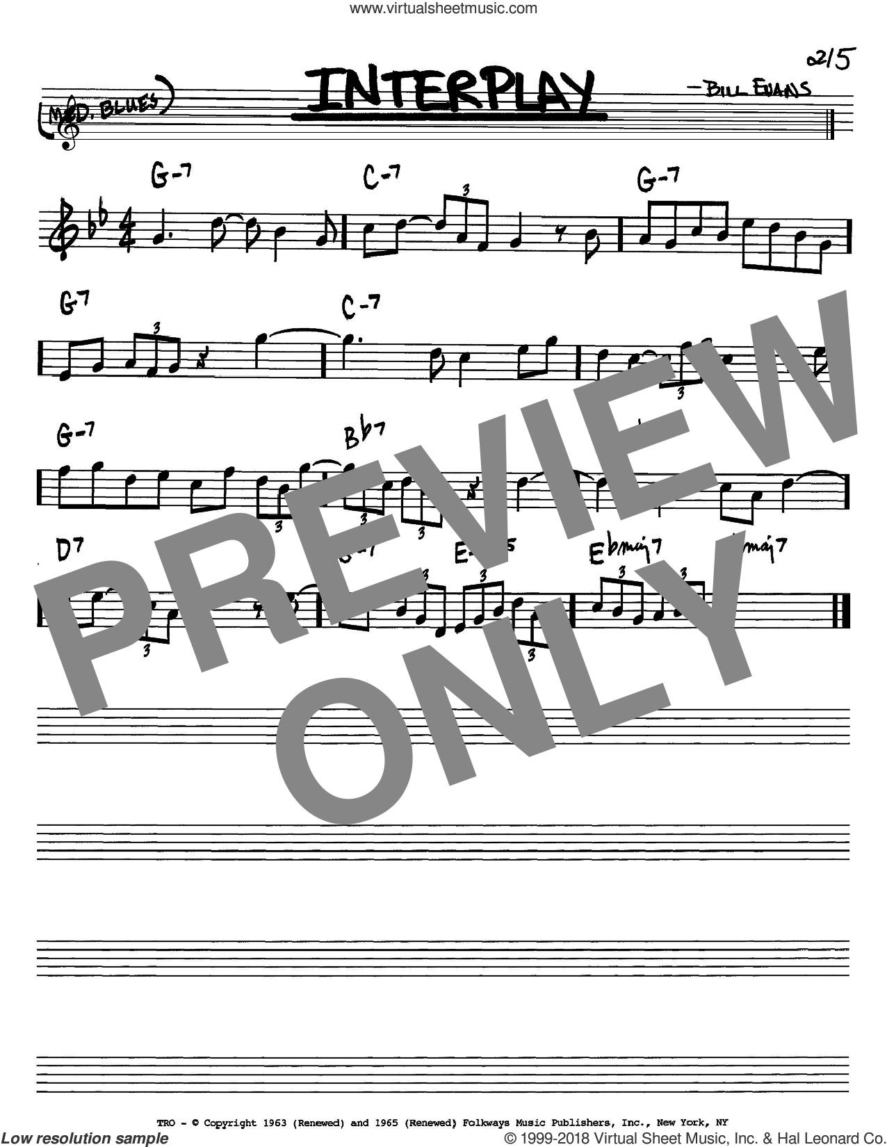 Interplay sheet music for voice and other instruments (Bb) by Bill Evans, intermediate. Score Image Preview.
