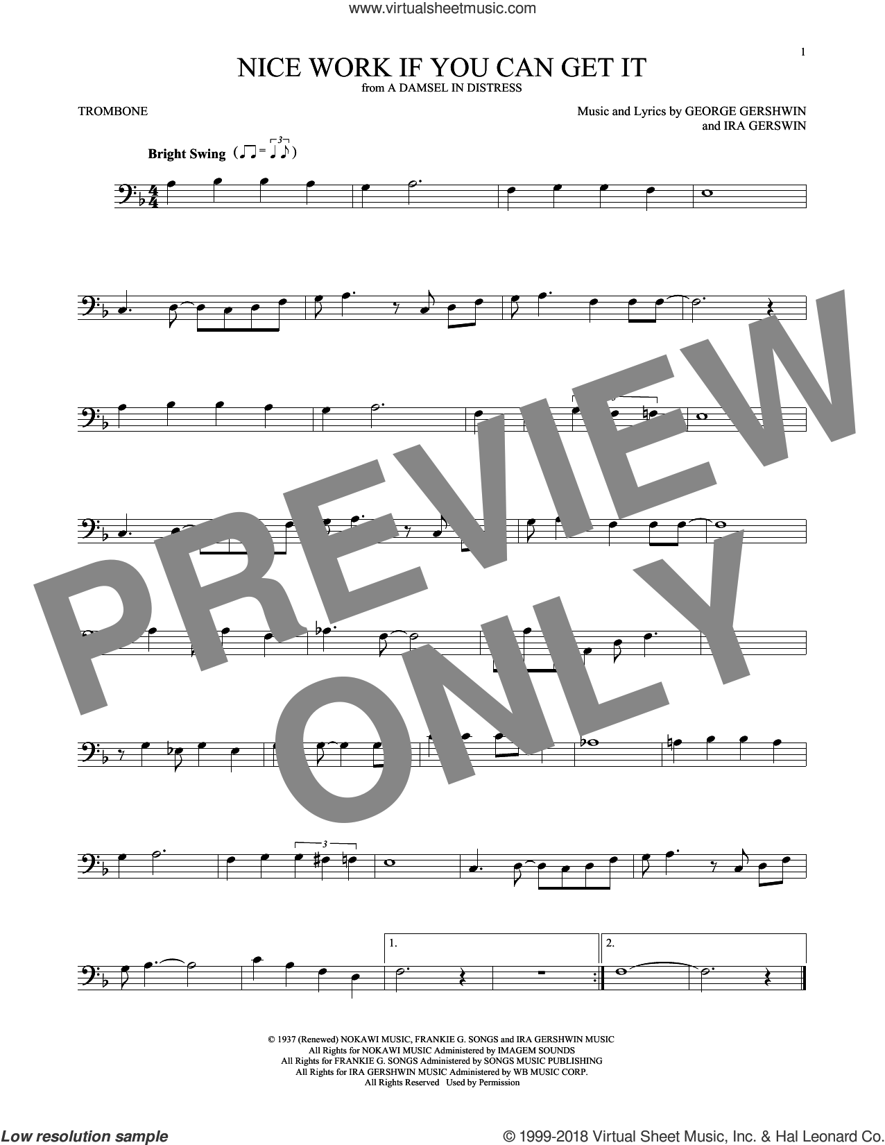 Nice Work If You Can Get It sheet music for trombone solo by Frank Sinatra, George Gershwin and Ira Gershwin, intermediate skill level