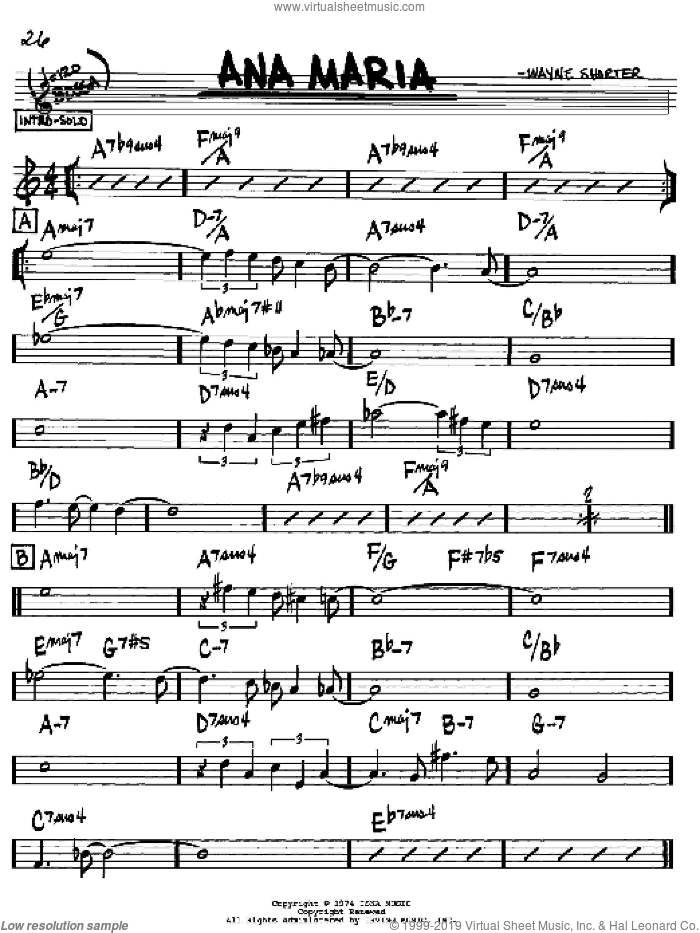 Ana Maria sheet music for voice and other instruments (Bb) by Wayne Shorter