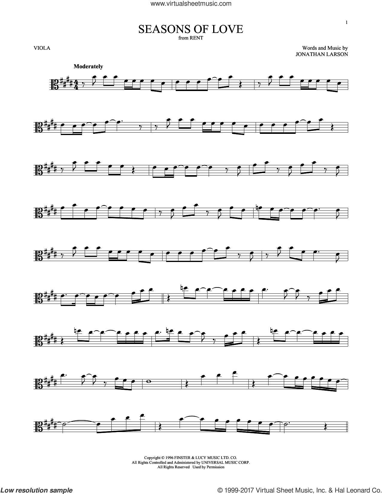 Seasons Of Love (from Rent) sheet music for viola solo by Jonathan Larson, intermediate skill level
