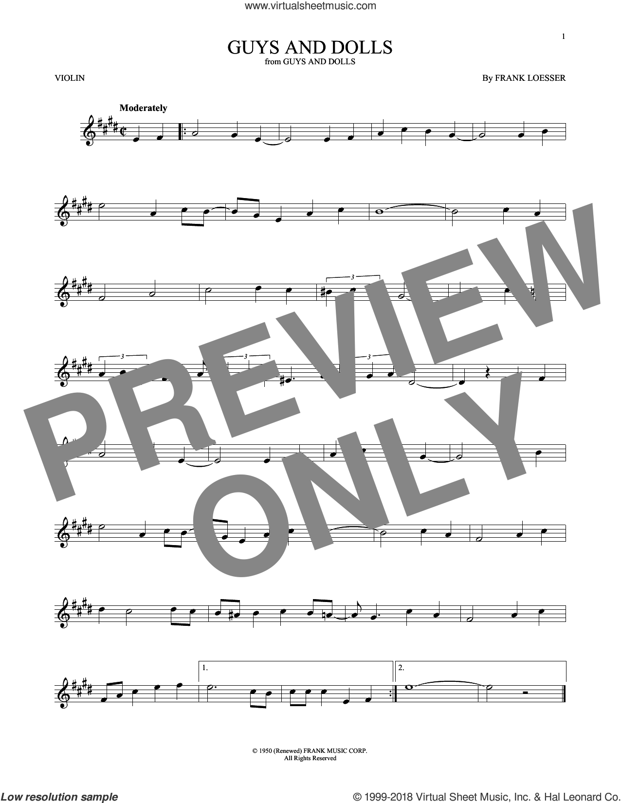 Guys And Dolls sheet music for violin solo by Frank Loesser, intermediate skill level