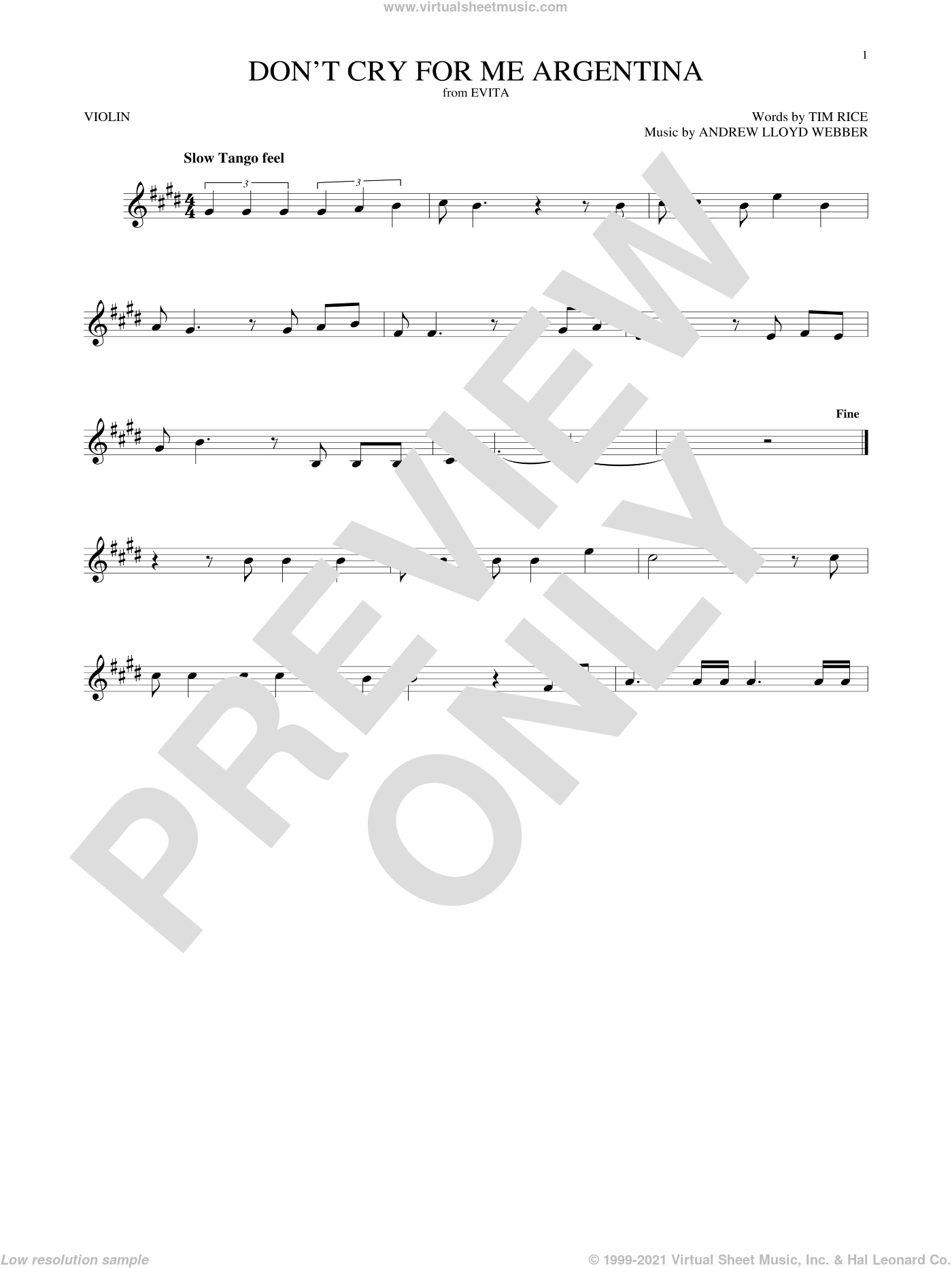 Don't Cry For Me Argentina sheet music for violin solo by Andrew Lloyd Webber, Madonna and Tim Rice, intermediate skill level