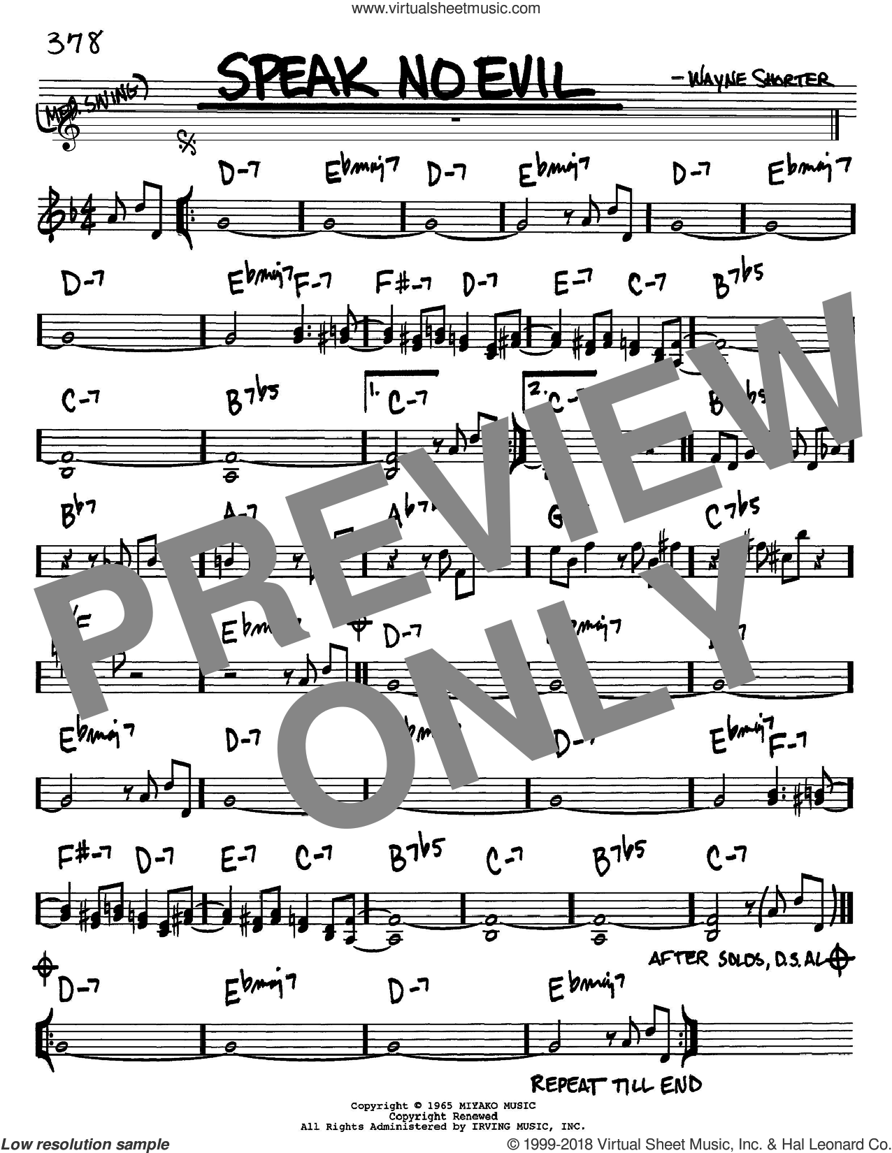 Speak No Evil sheet music for voice and other instruments (in Bb) by Wayne Shorter, intermediate skill level