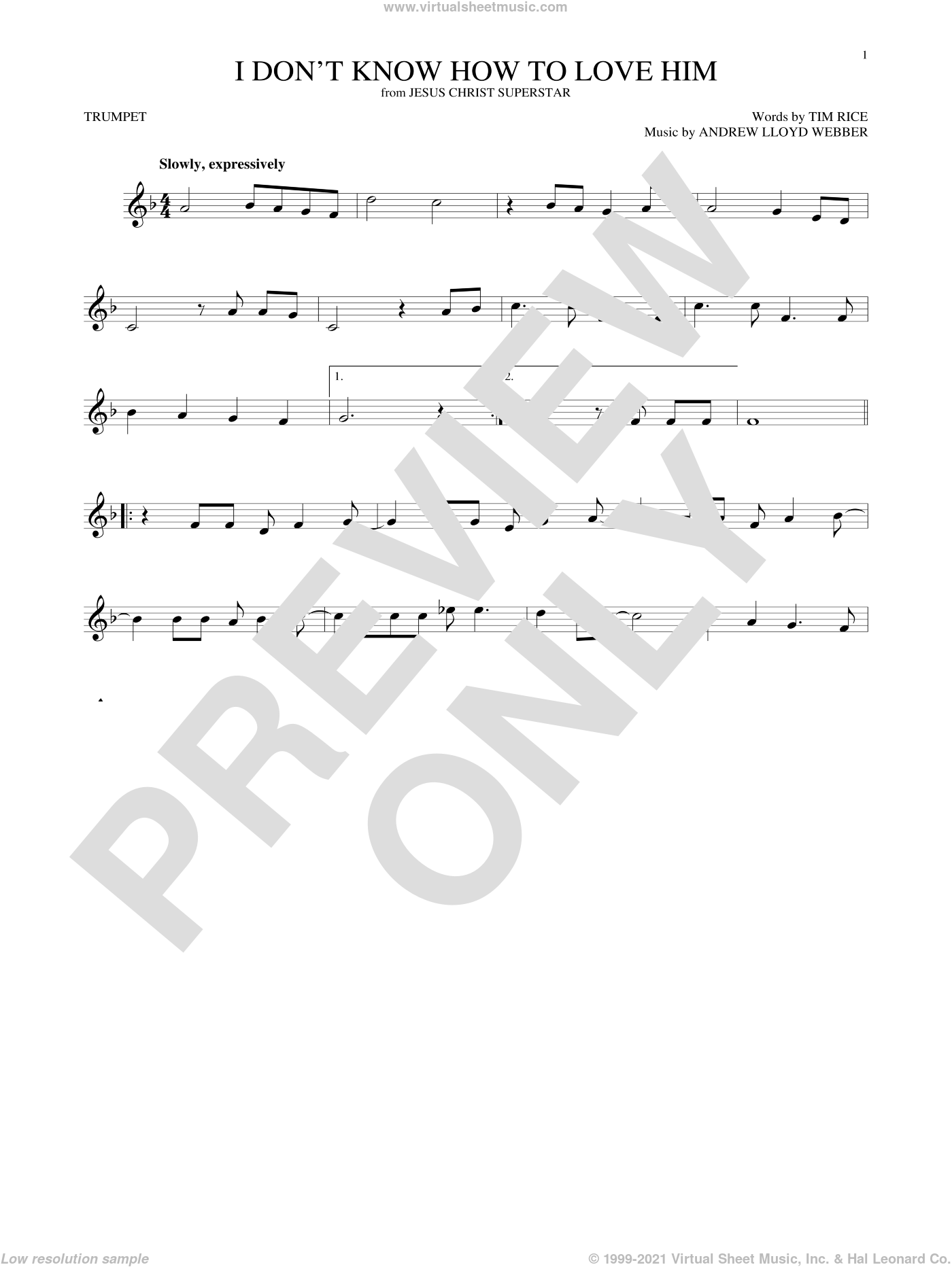 I Don't Know How To Love Him sheet music for trumpet solo by Andrew Lloyd Webber, Helen Reddy and Tim Rice, intermediate skill level