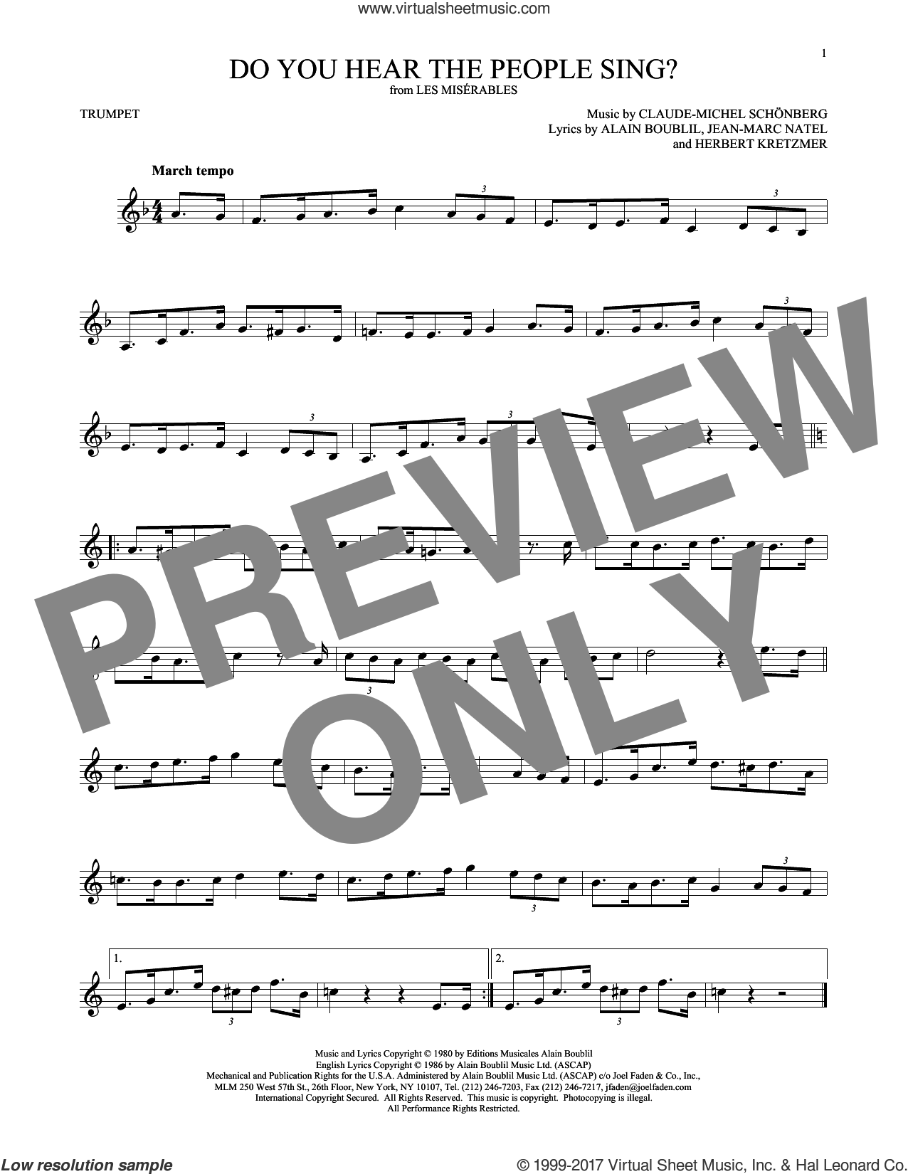 Do You Hear The People Sing? sheet music for trumpet solo by Alain Boublil, Claude-Michel Schonberg, Herbert Kretzmer and Jean-Marc Natel, intermediate skill level