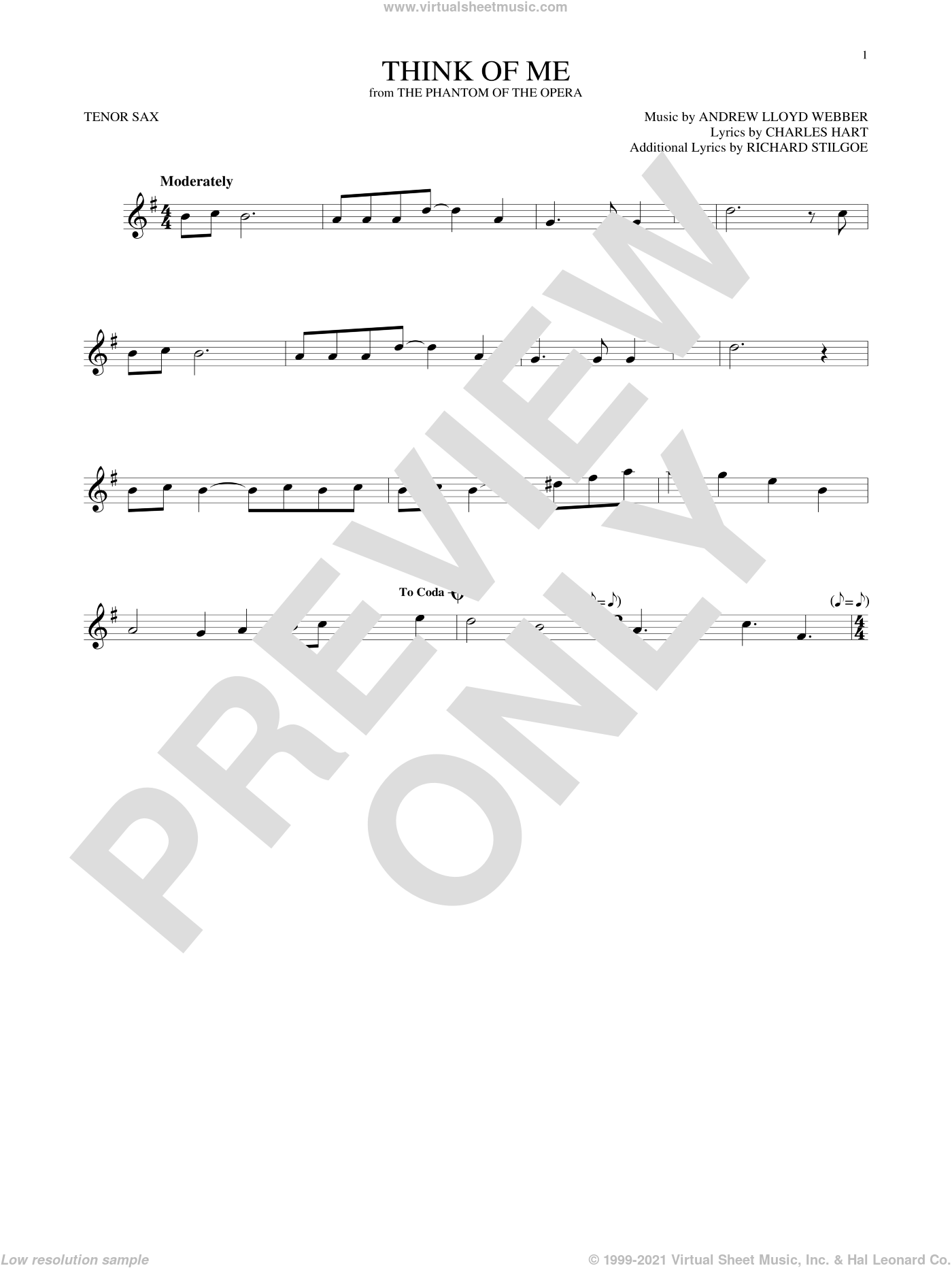 Think Of Me sheet music for tenor saxophone solo by Andrew Lloyd Webber, Charles Hart and Richard Stilgoe, intermediate skill level
