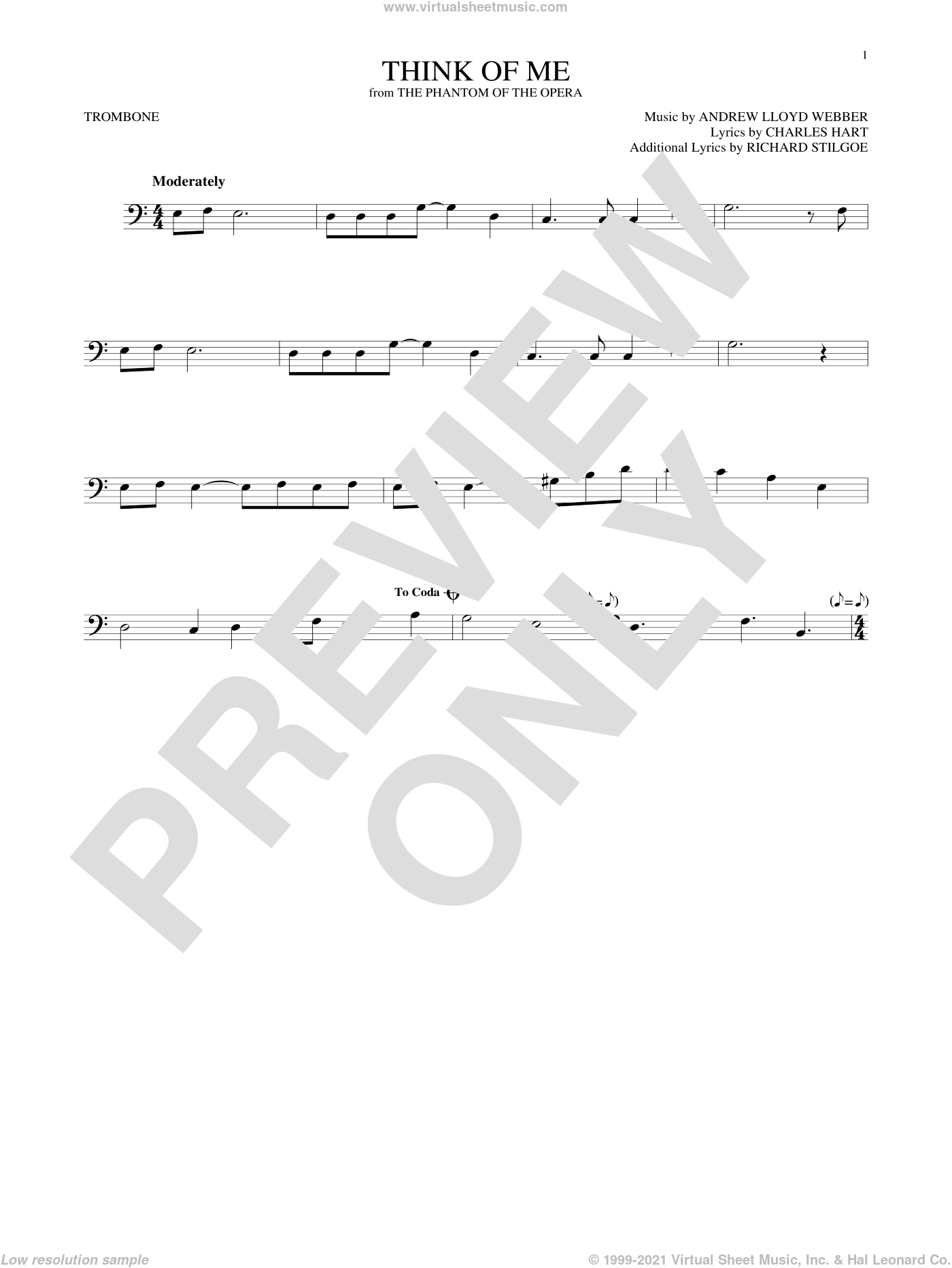 Think Of Me sheet music for trombone solo by Andrew Lloyd Webber, Charles Hart and Richard Stilgoe, intermediate skill level