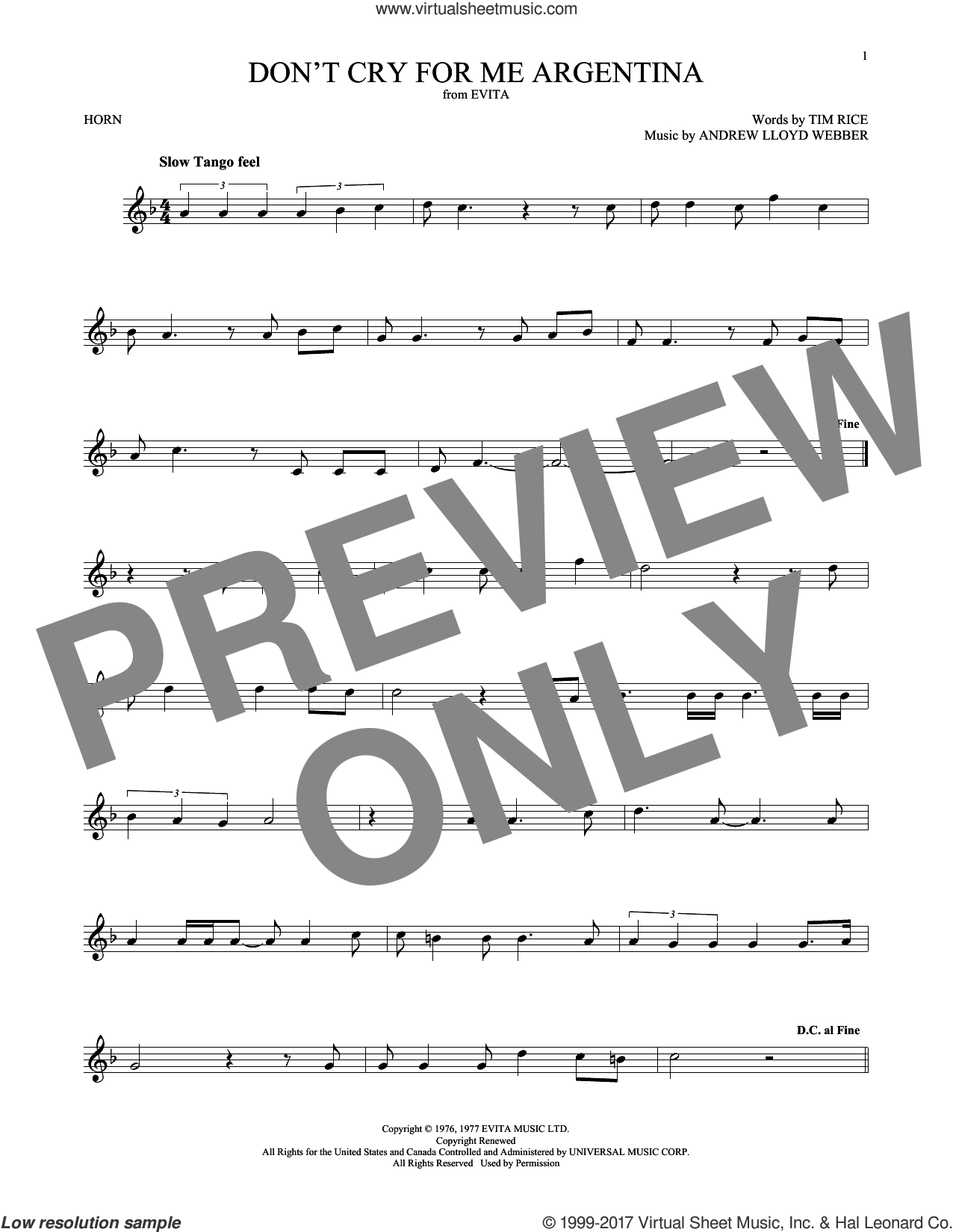 Don't Cry For Me Argentina sheet music for horn solo by Andrew Lloyd Webber, Madonna and Tim Rice, intermediate skill level