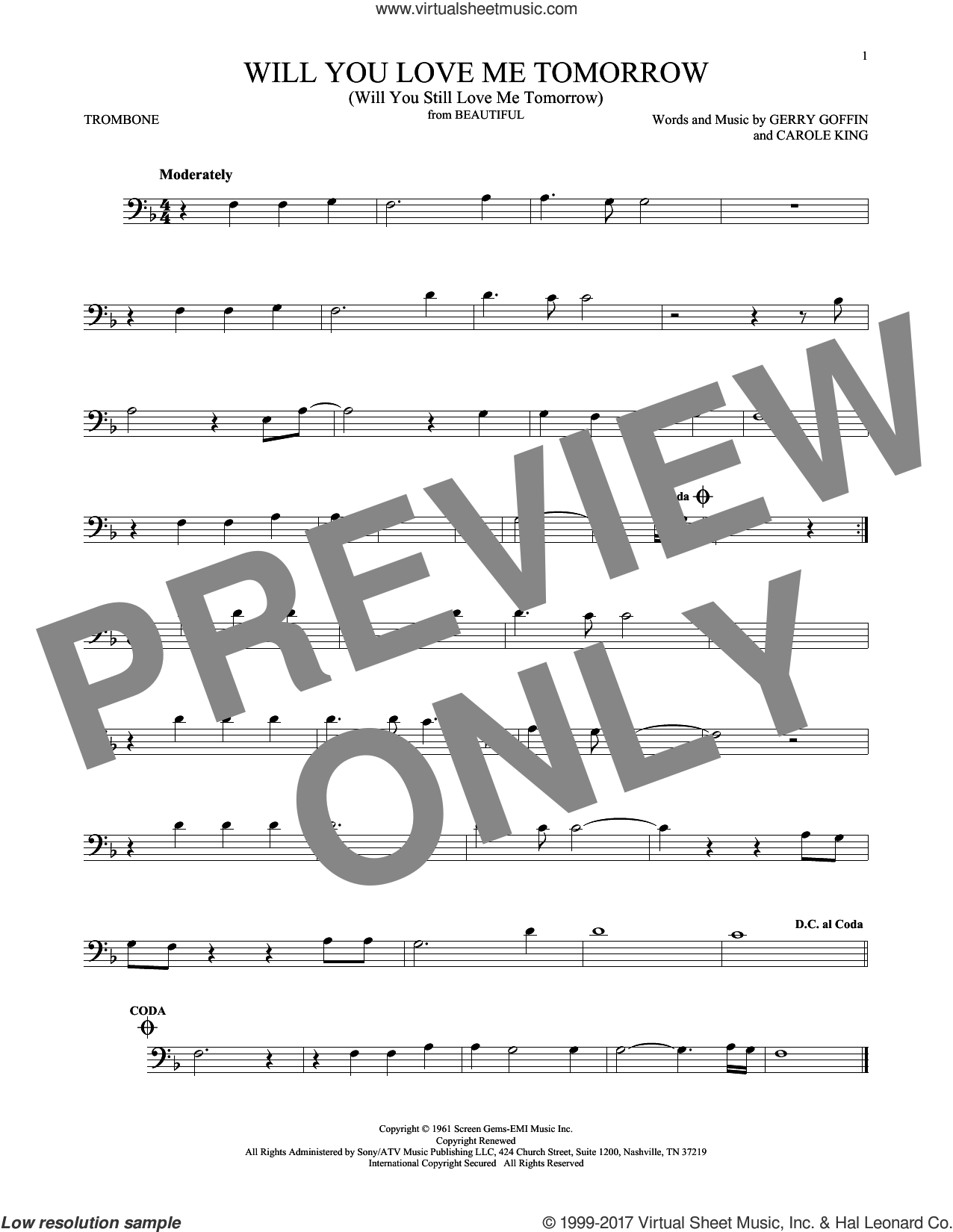Will You Love Me Tomorrow (Will You Still Love Me Tomorrow) sheet music for trombone solo by The Shirelles, Carole King and Gerry Goffin, intermediate skill level
