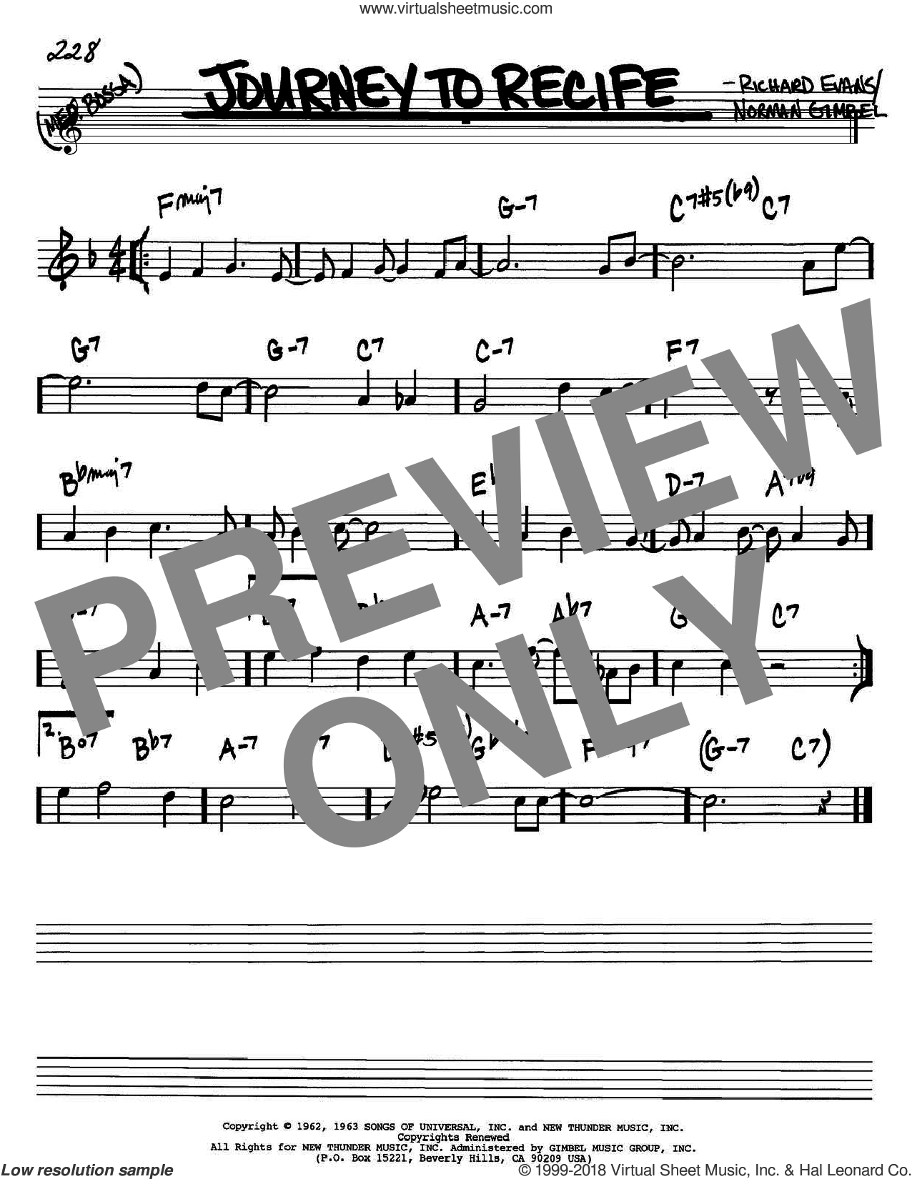 Journey To Recife sheet music for voice and other instruments (Bb) by Richard Evans
