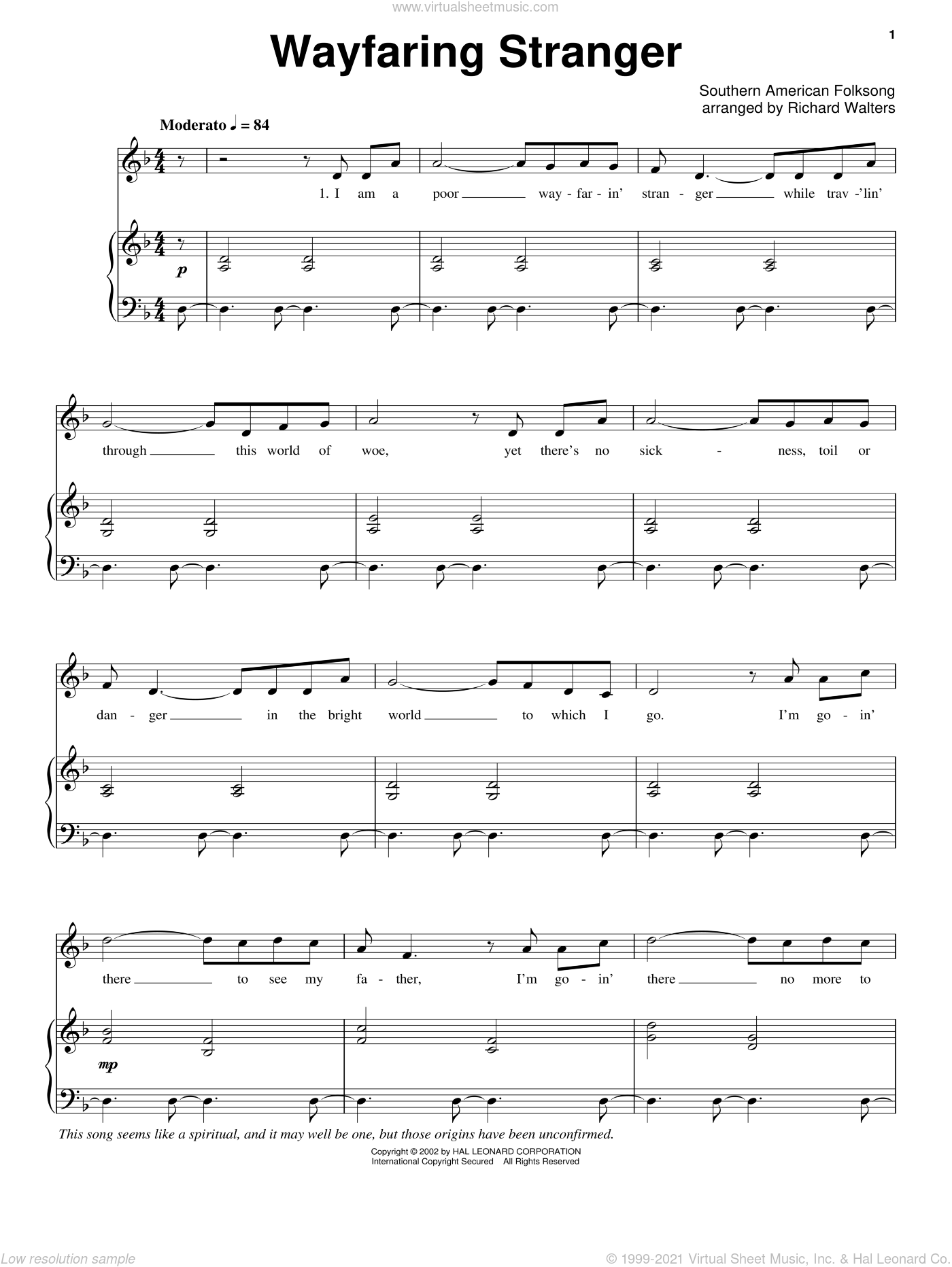 Wayfaring Stranger sheet music for voice, piano or guitar. Score Image Preview.