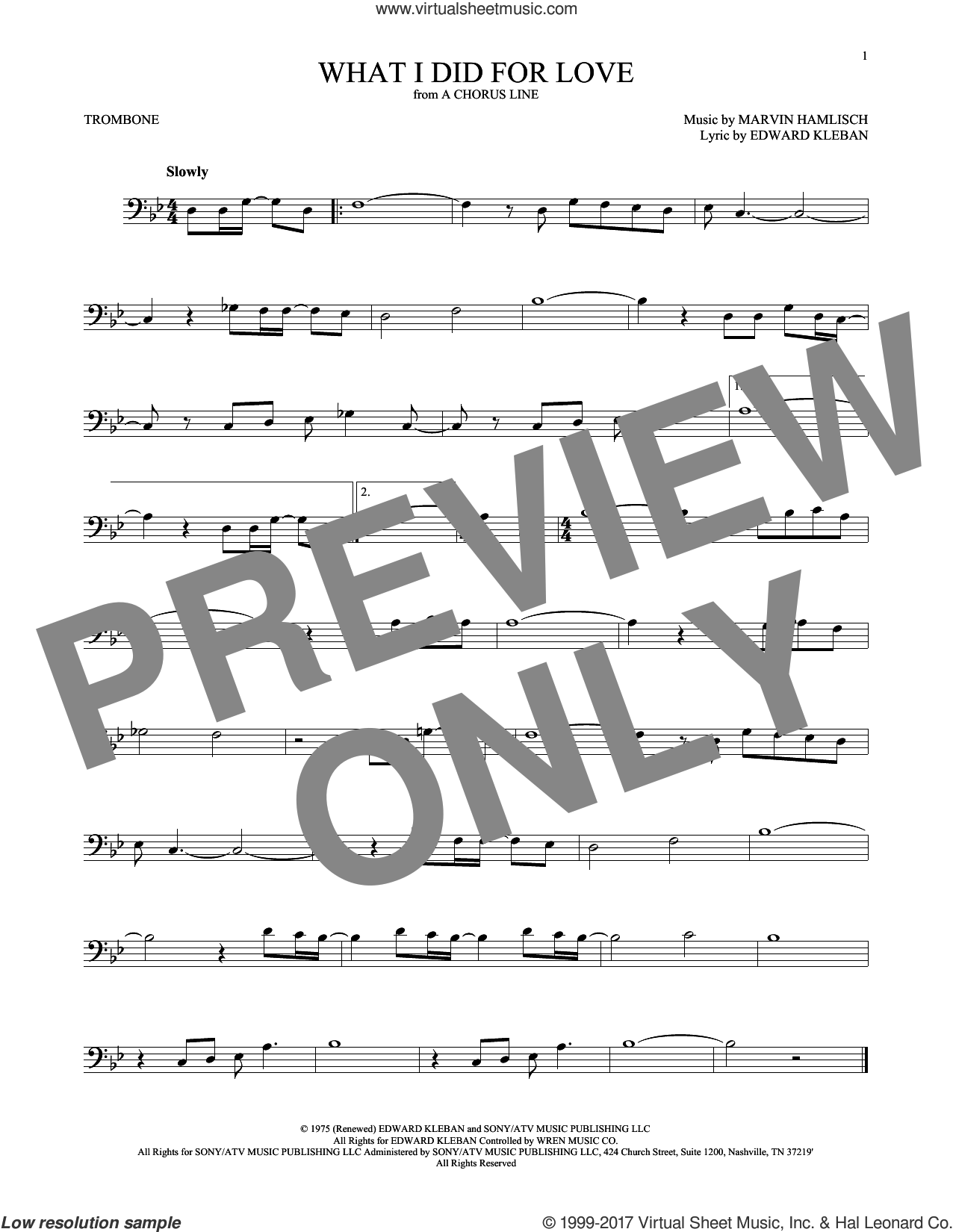 What I Did For Love sheet music for trombone solo by Marvin Hamlisch and Edward Kleban, intermediate skill level
